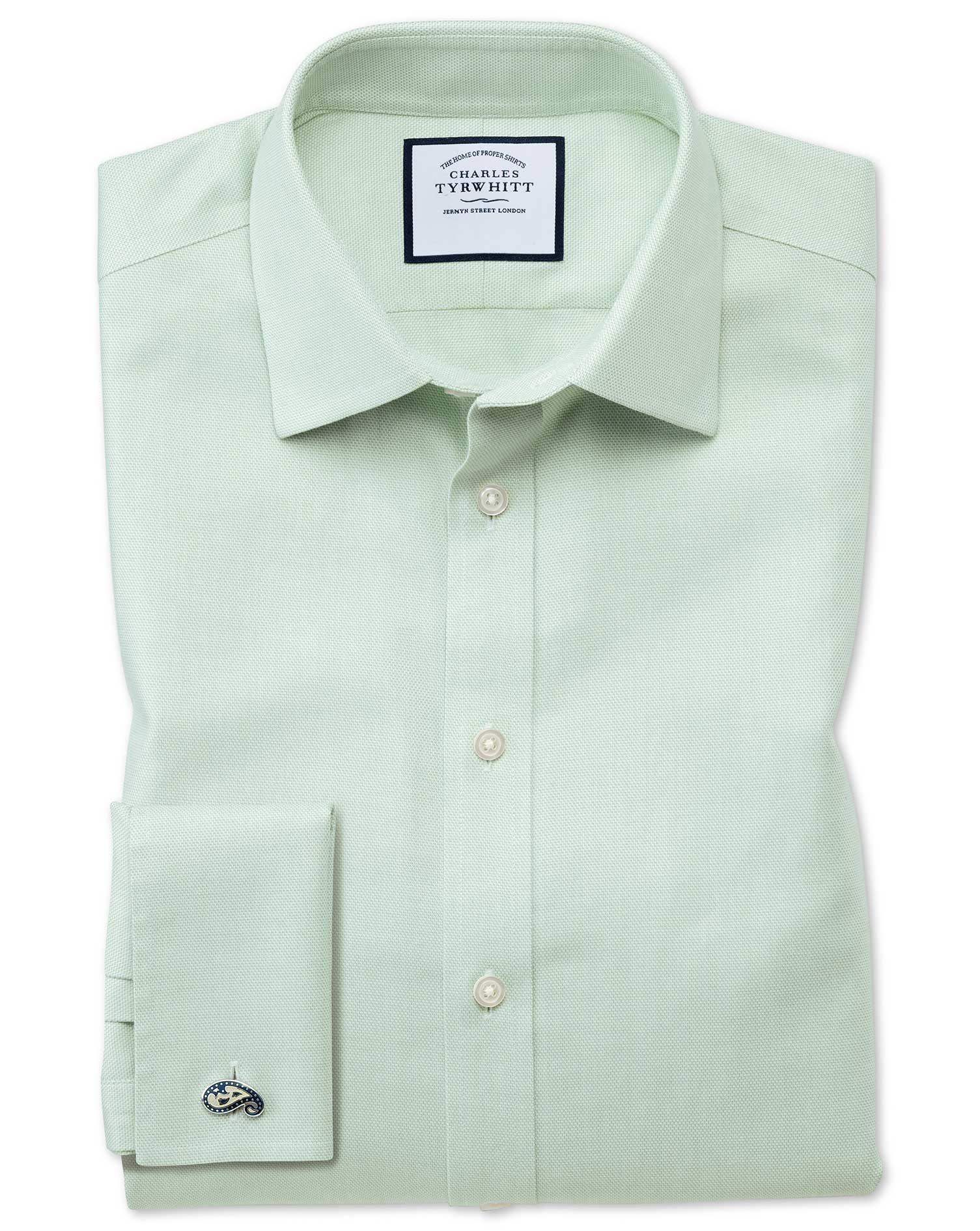 Extra Slim Fit Non-Iron Step Weave Green Cotton Formal Shirt Double Cuff Size 15/33 by Charles Tyrwh