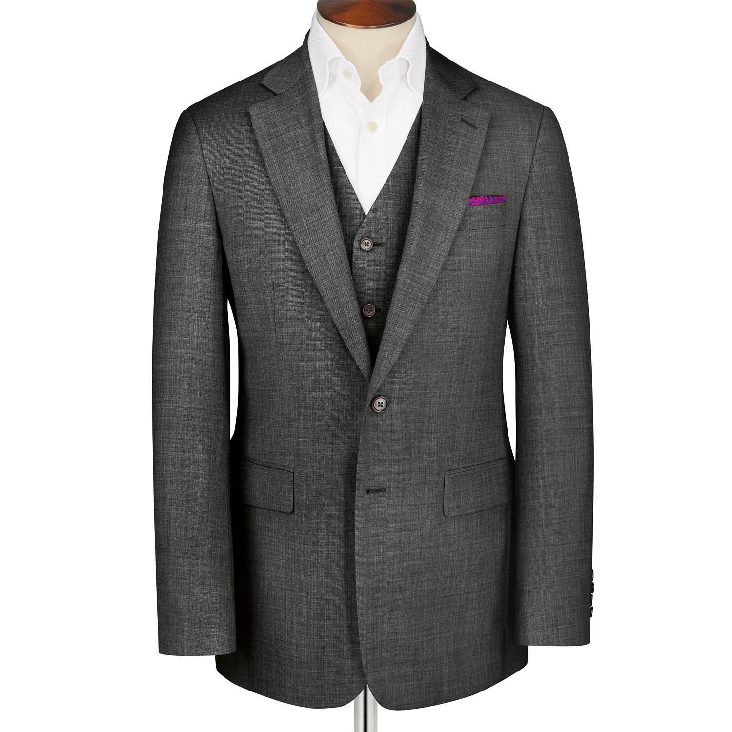 Grey Classic Fit Apsley Sharkskin Business Suit Super 100 Wool Jacket Size 44 Regular by Charles Tyr