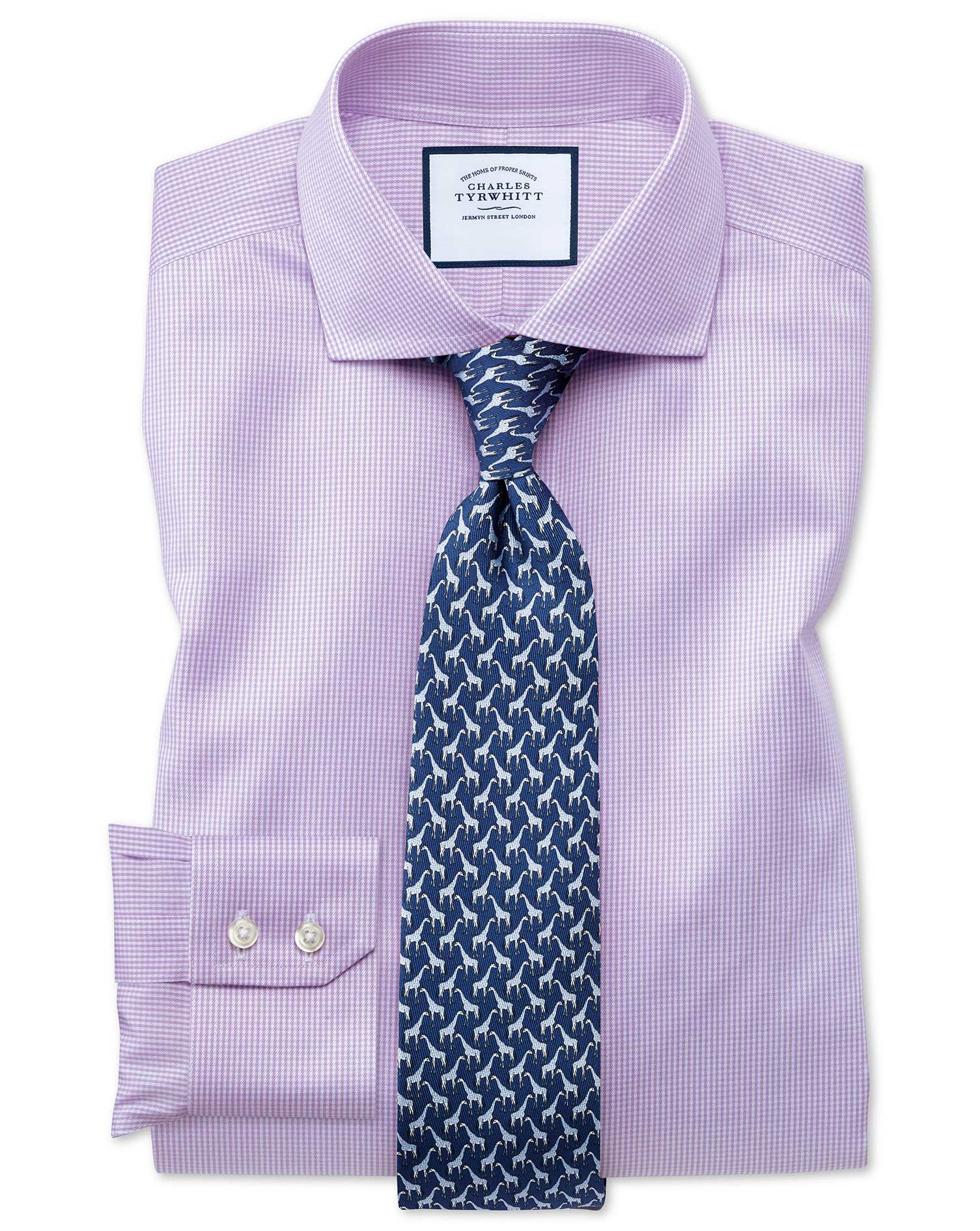 Slim Fit Cutaway Non-Iron Puppytooth Lilac Cotton Formal Shirt Double Cuff Size 16.5/35 by Charles T