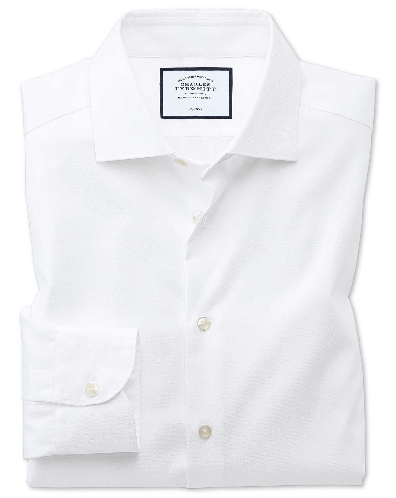 Classic fit semi spread collar business casual non iron for Semi spread collar shirt