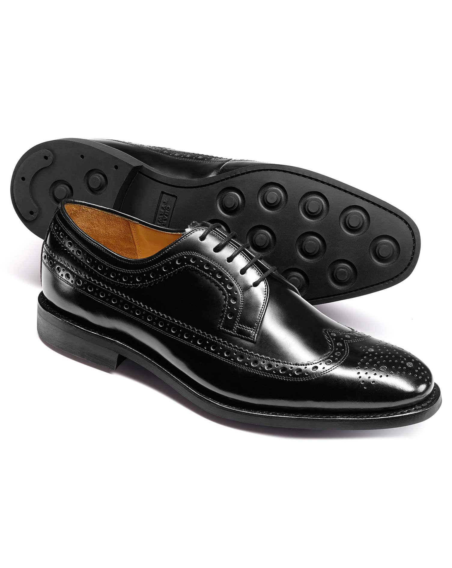 Black Goodyear Welted Derby Wing Tip Brogue Shoes Size 12 W by Charles Tyrwhitt