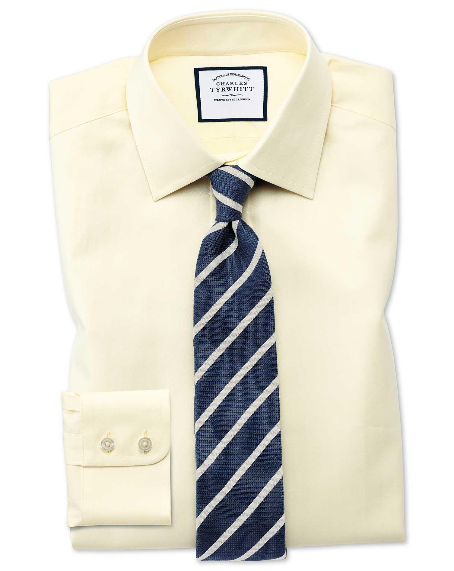 Extra Slim Fit Fine Herringbone Yellow Shirt Charles