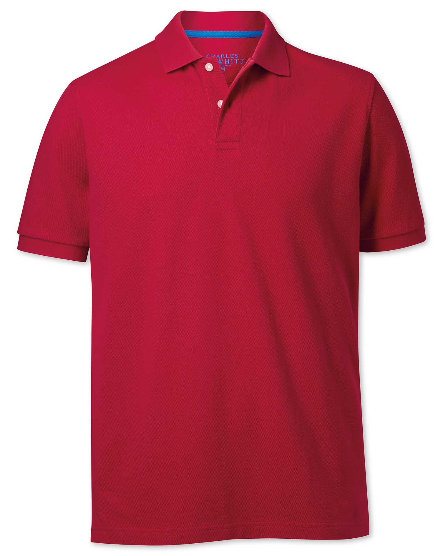 Red Pique Cotton Polo Size Medium by Charles Tyrwhitt