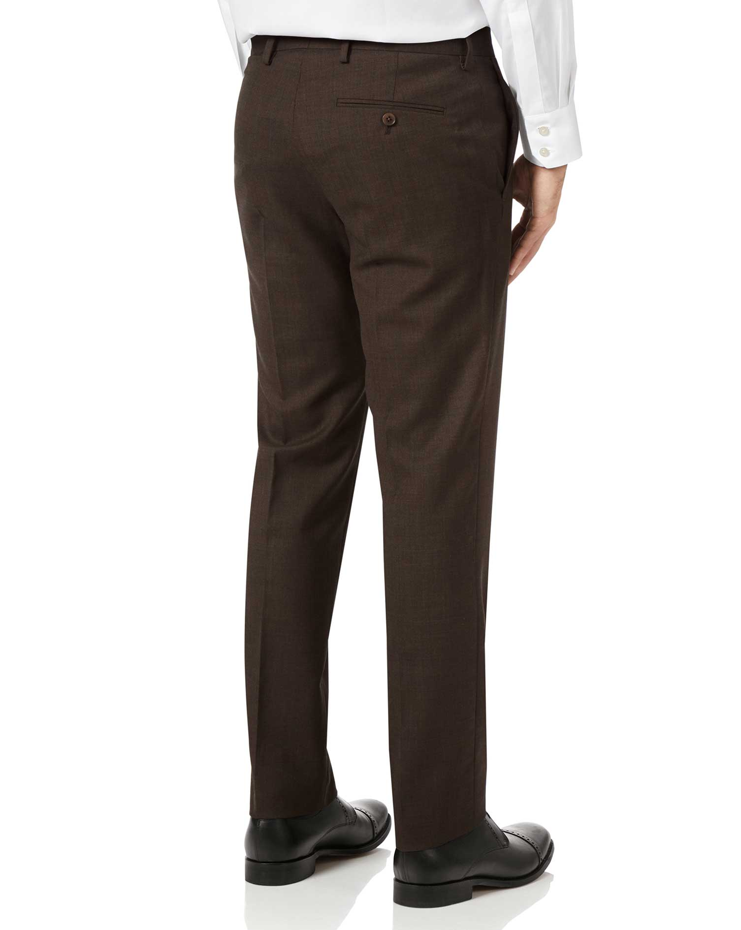 Chocolate slim fit sharkskin travel suit trousers