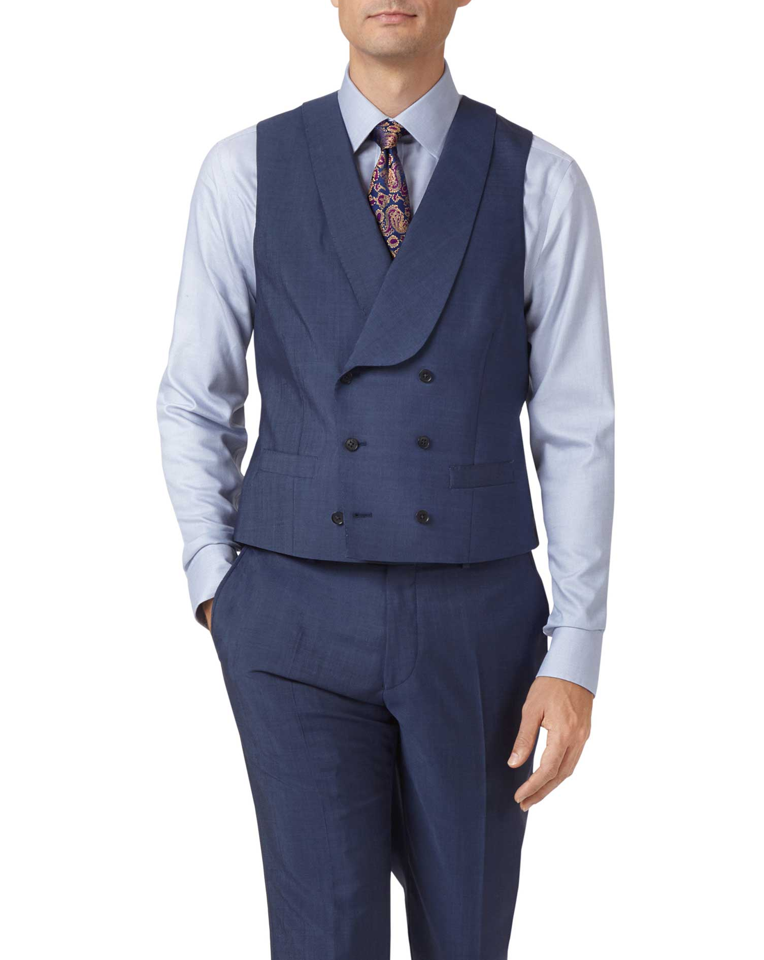 Blue Adjustable Fit Italian Wool Luxury Suit Viscose Waistcoat Size w42 by Charles Tyrwhitt