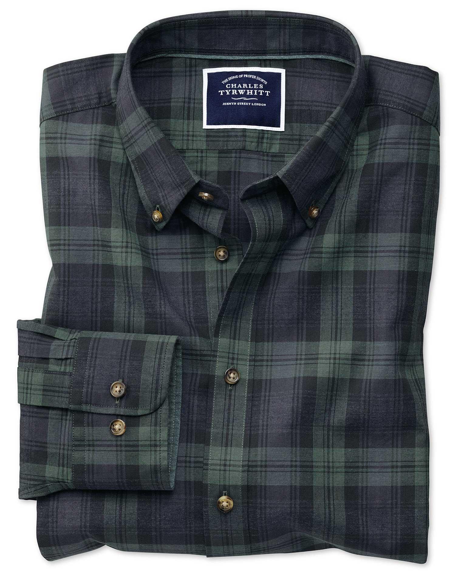 Slim Fit Navy and Green Check Herringbone Melange Cotton Shirt Single Cuff Size Medium by Charles Ty