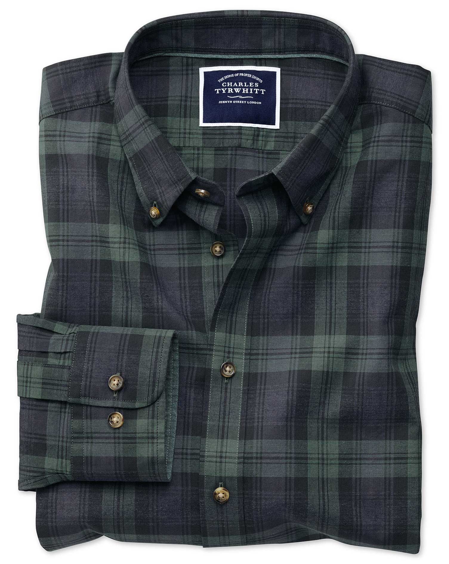 Extra Slim Fit Navy and Green Check Herringbone Melange Cotton Shirt Single Cuff Size Small by Charl