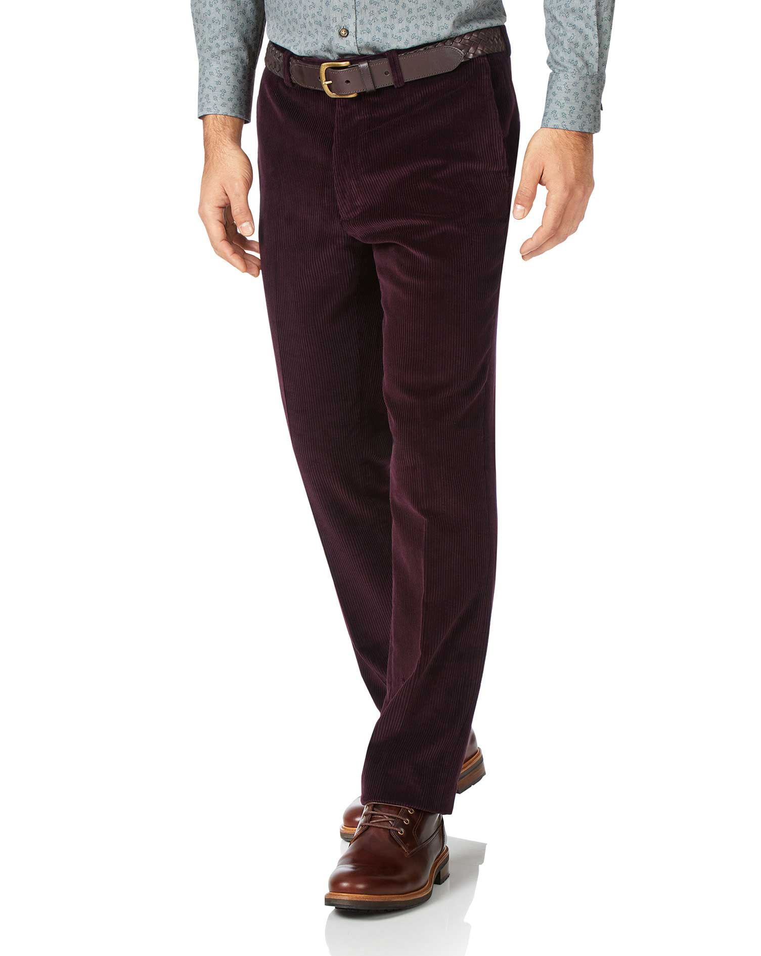 Wine Slim Fit Jumbo Corduroy Trousers Size W34 L32 by Charles Tyrwhitt