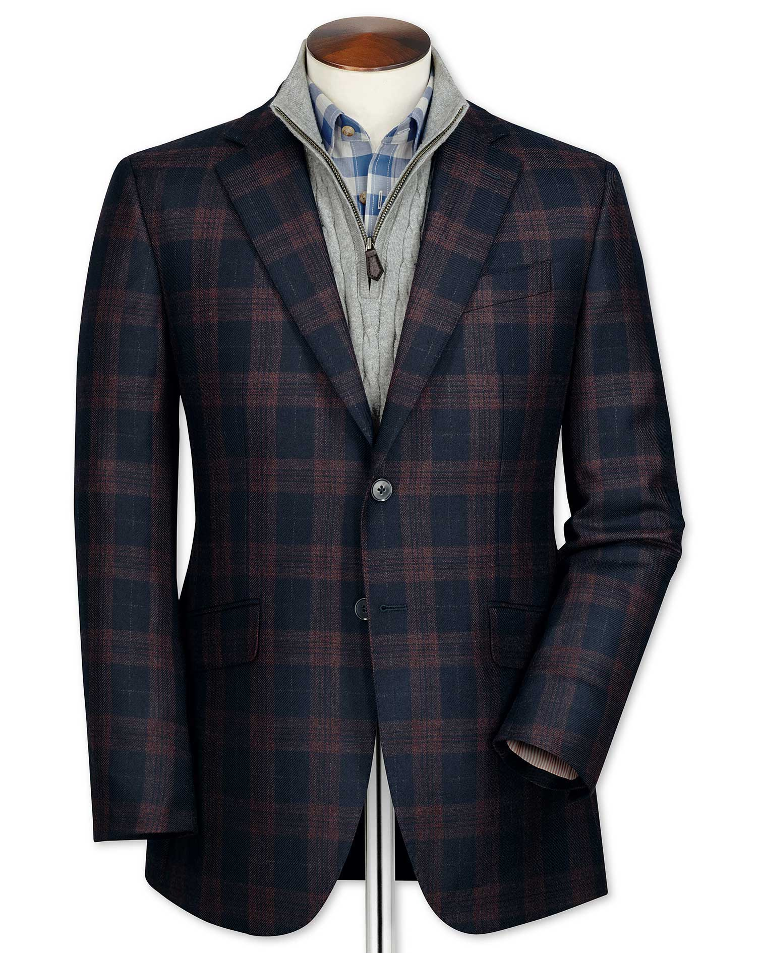Classic Fit Navy Checkered Lambswool Wool Jacket Size 40 Long by Charles Tyrwhitt
