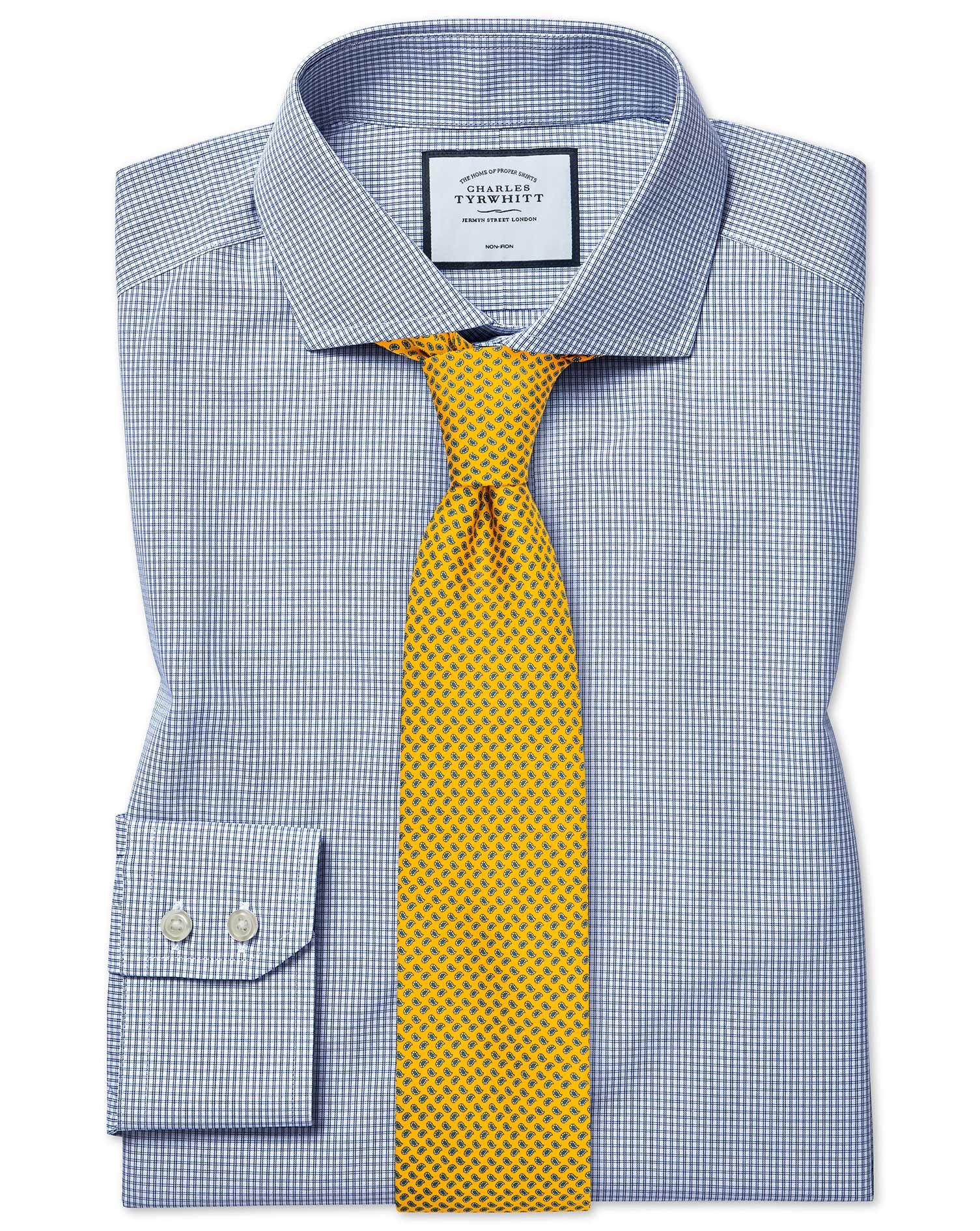 Cotton Extra Slim Fit Non-Iron Cutaway Tyrwhitt Cool Poplin Check Blue Shirt
