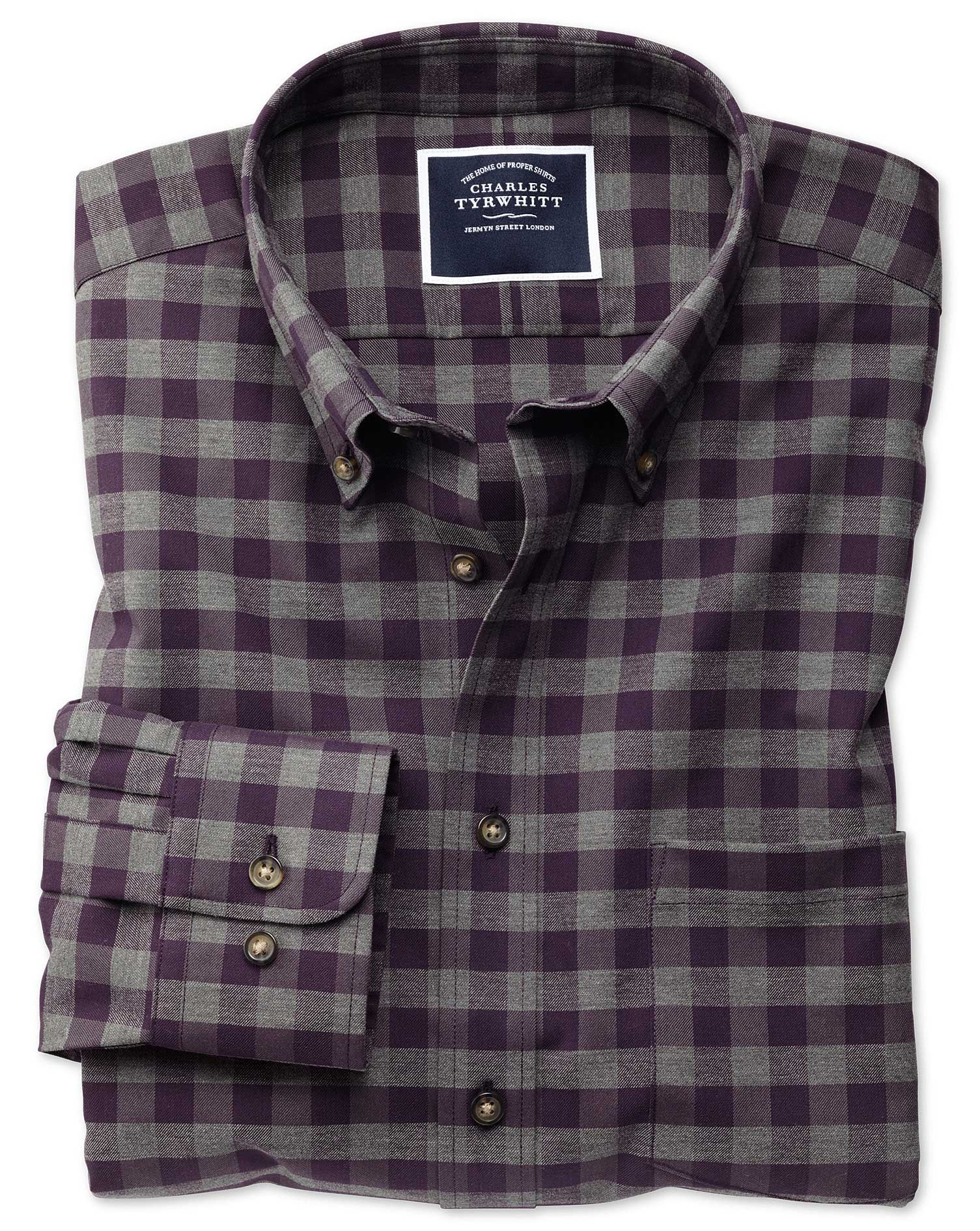 Classic Fit Non-Iron Purple Gingham Twill Cotton Shirt Single Cuff Size XXXL by Charles Tyrwhitt
