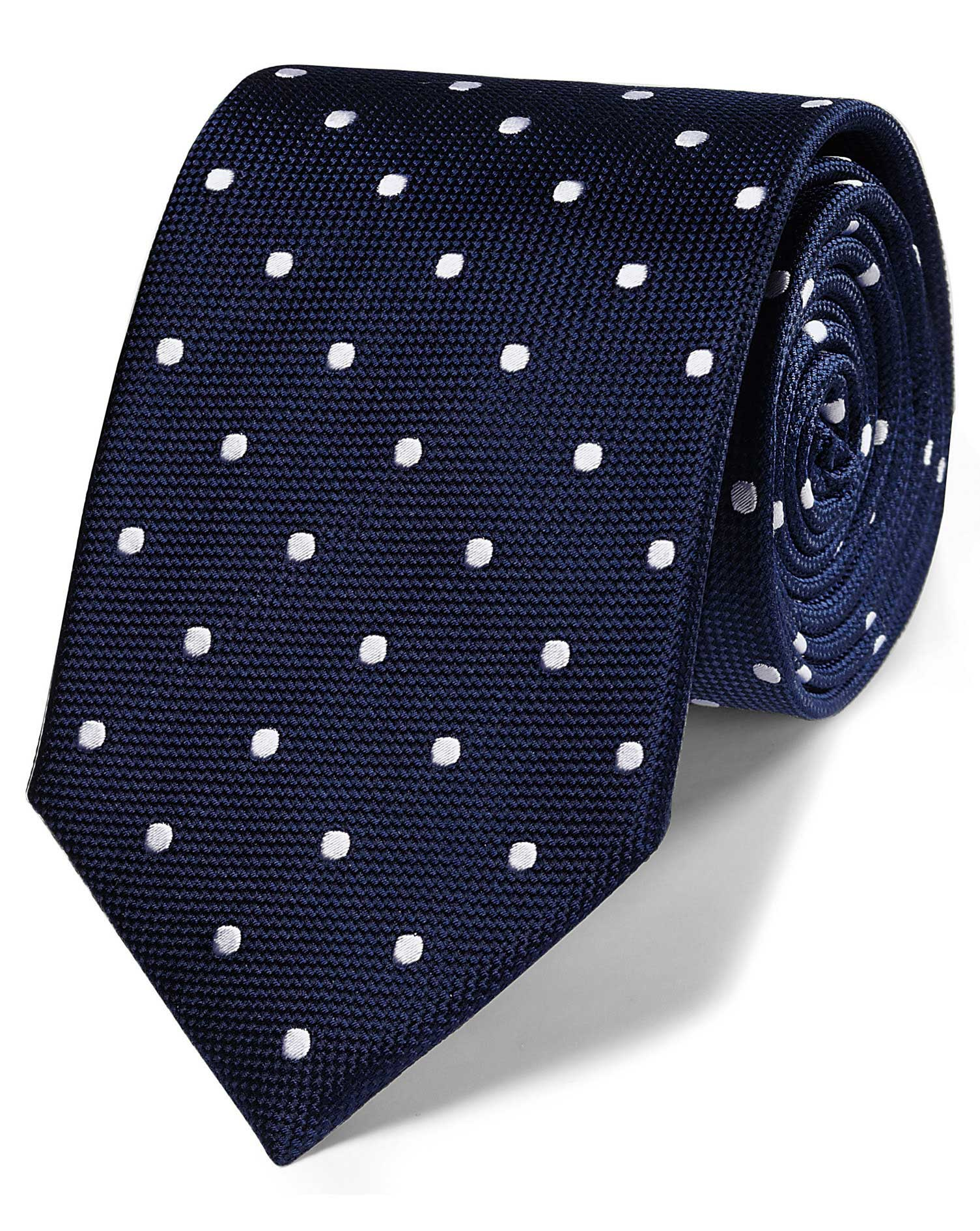 Navy silk spot classic tie charles tyrwhitt navy silk spot classic tie ccuart Image collections