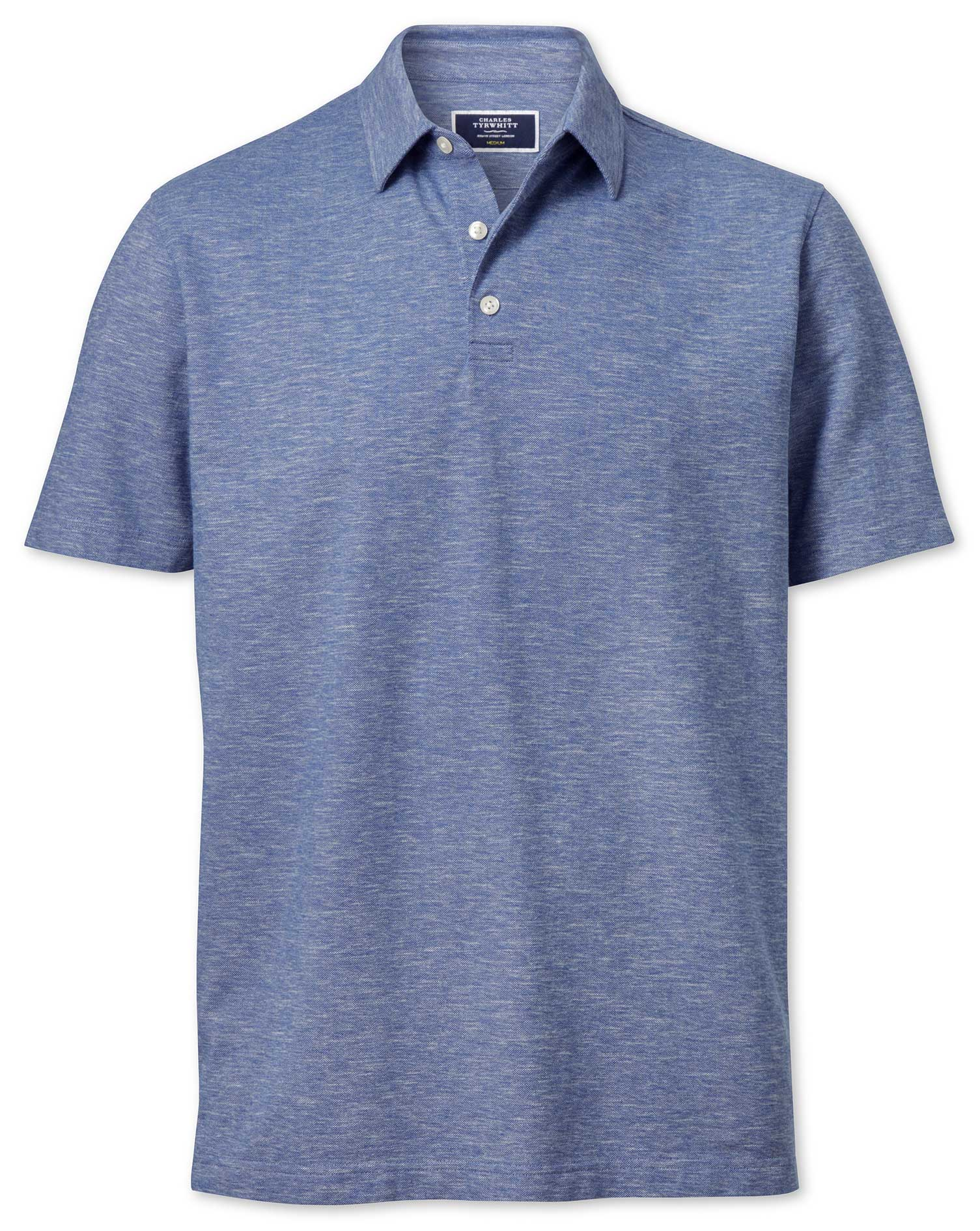 Mid Blue Cotton Linen Polo Charles Tyrwhitt