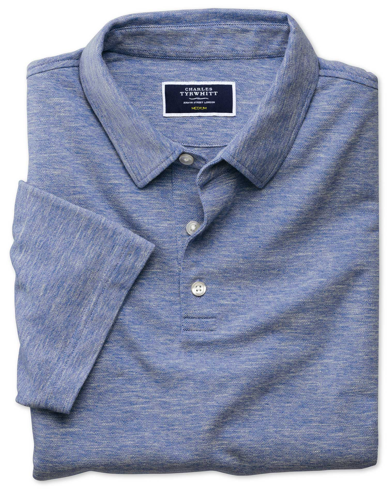 Mid Blue Cotton Linen Polo Size Large by Charles Tyrwhitt