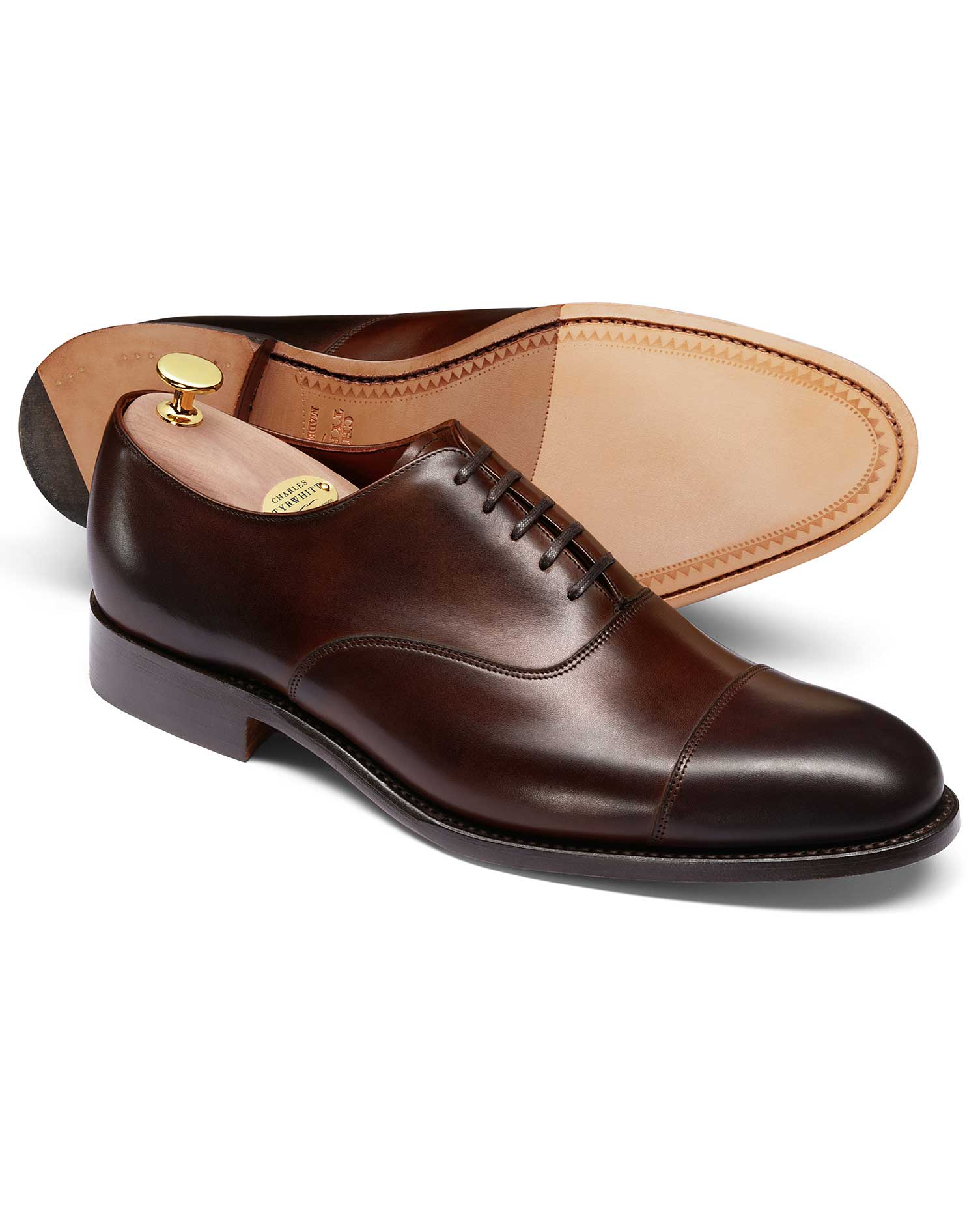 Mahogany Made In England Oxford Shoe Size 8.5 R by Charles Tyrwhitt