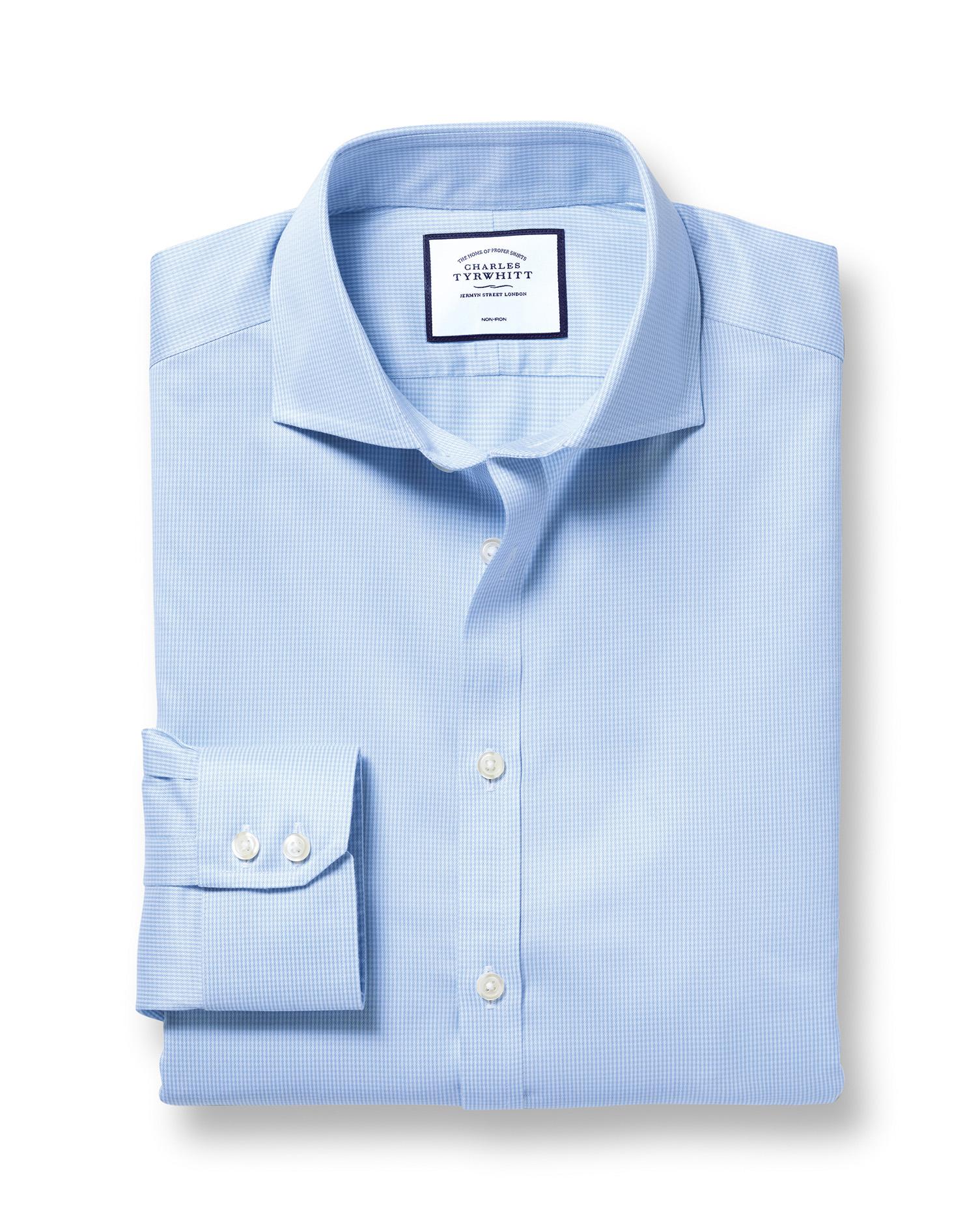 Cotton Slim Fit Non-Iron Cutaway Sky Blue Puppytooth Shirt