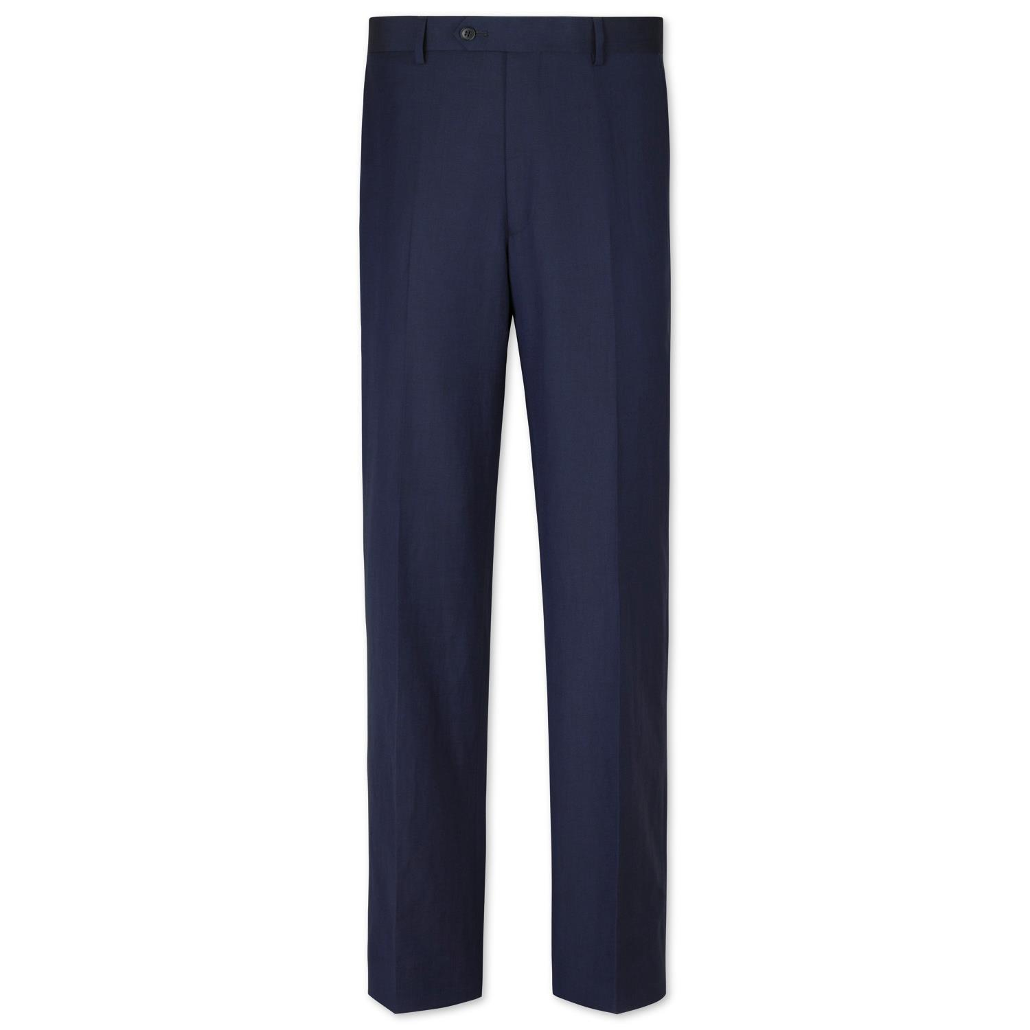 Navy Classic Fit Wool Linen Suit Trousers Size W34 L38 by Charles Tyrwhitt