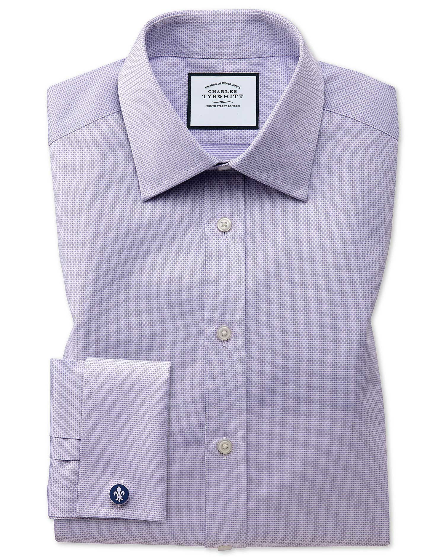 Slim Fit Lilac Cube Weave Egyptian Cotton Formal Shirt Single Cuff Size 17/36 by Charles Tyrwhitt