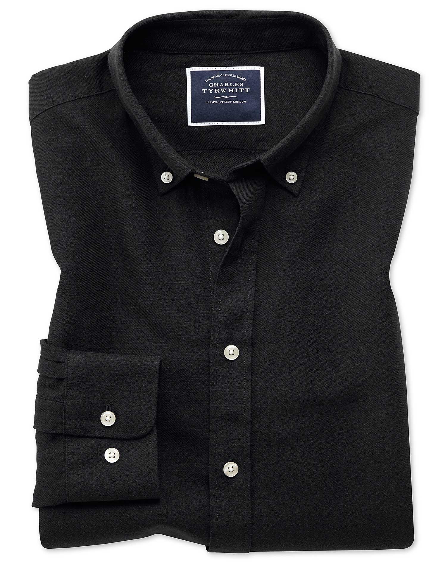 Classic Fit Black Cotton Linen Twill Shirt Single Cuff Size Medium by Charles Tyrwhitt