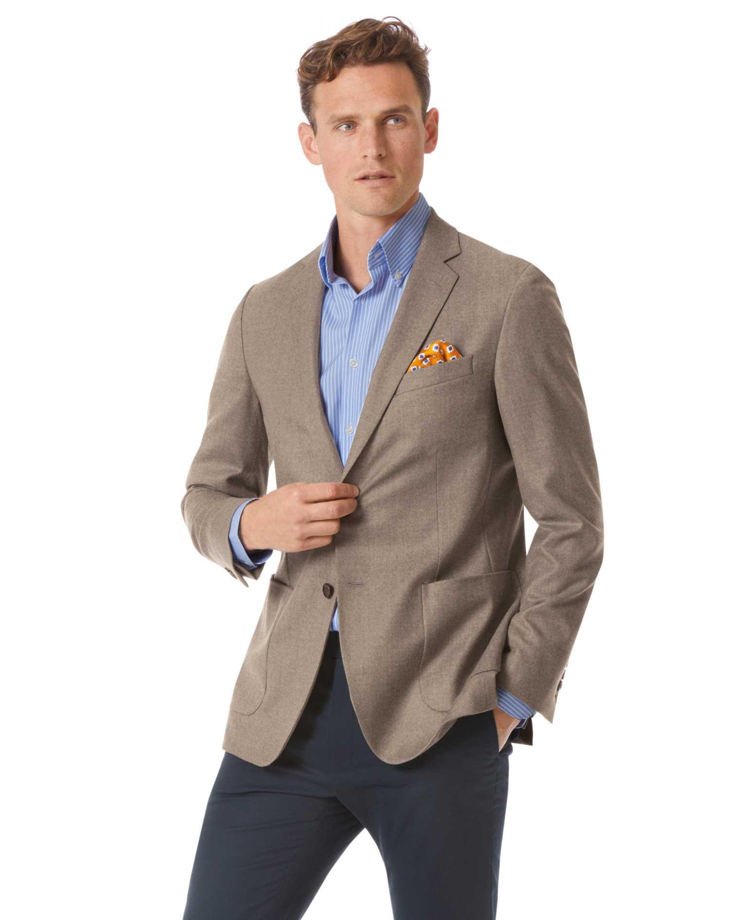 Slim Fit Fawn Italian Wool Flannel Blazer Size 36 Short by Charles Tyrwhitt