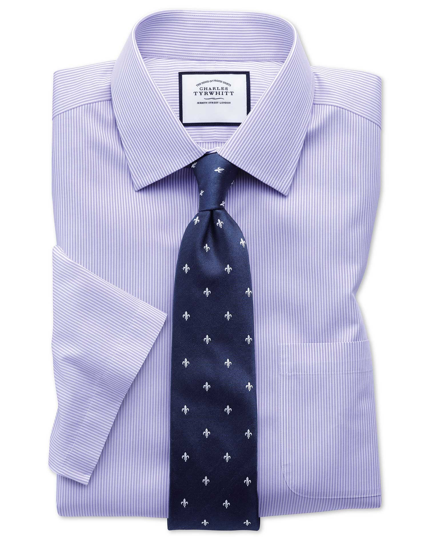Slim Fit Non-Iron Bengal Stripe Short Sleeve Lilac Cotton Formal Shirt Size 18/Short by Charles Tyrw