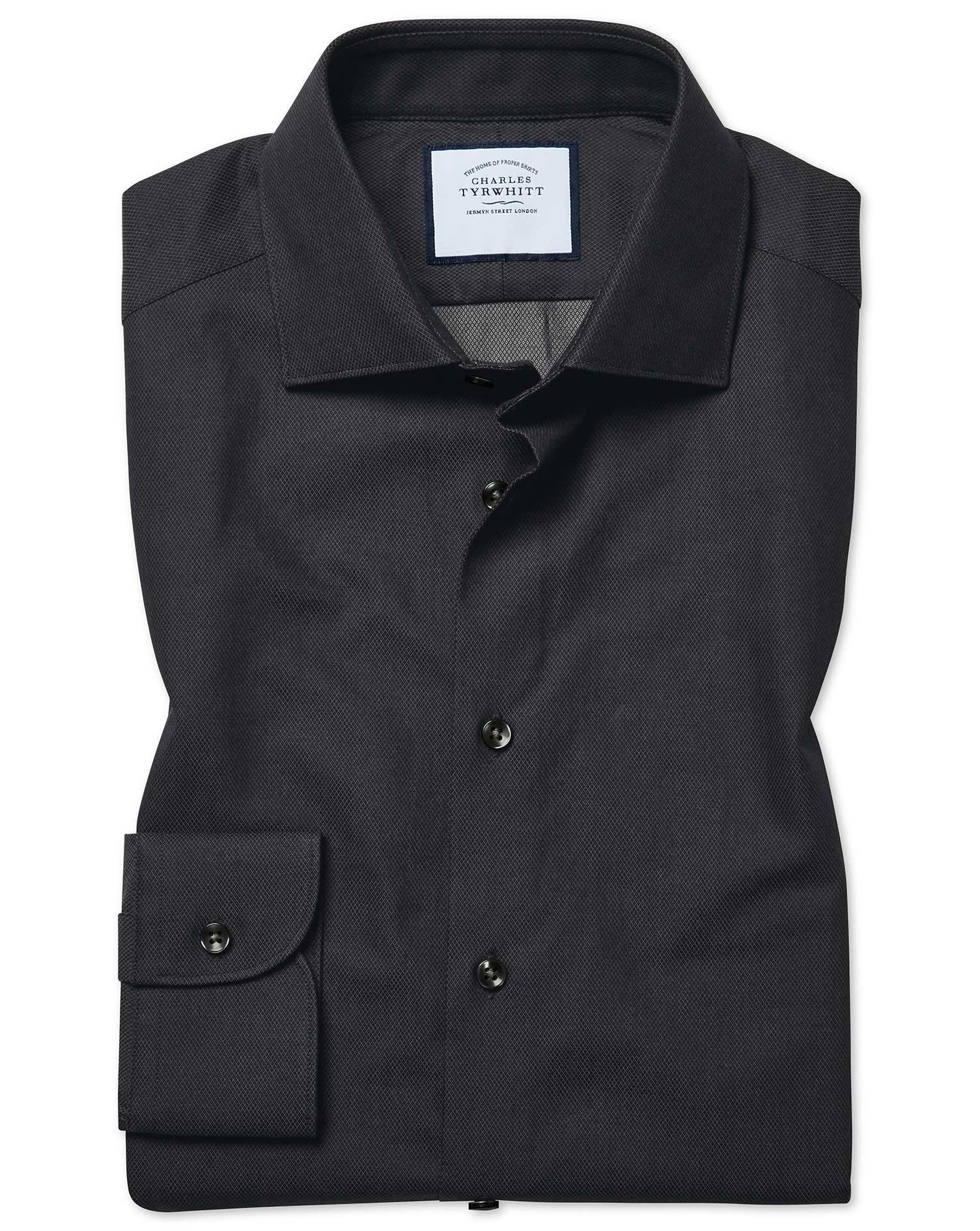 Slim Fit Micro Diamond Charcoal Cotton Formal Shirt Single Cuff Size 18/37 by Charles Tyrwhitt