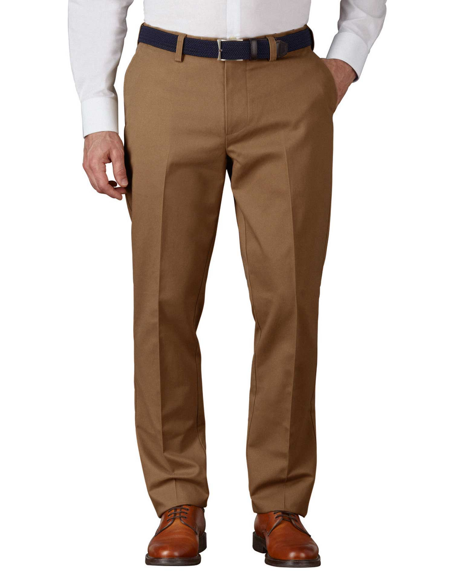 Camel Extra Slim Fit Flat Front Non-Iron Cotton Chino Trousers Size W34 L34 by Charles Tyrwhitt