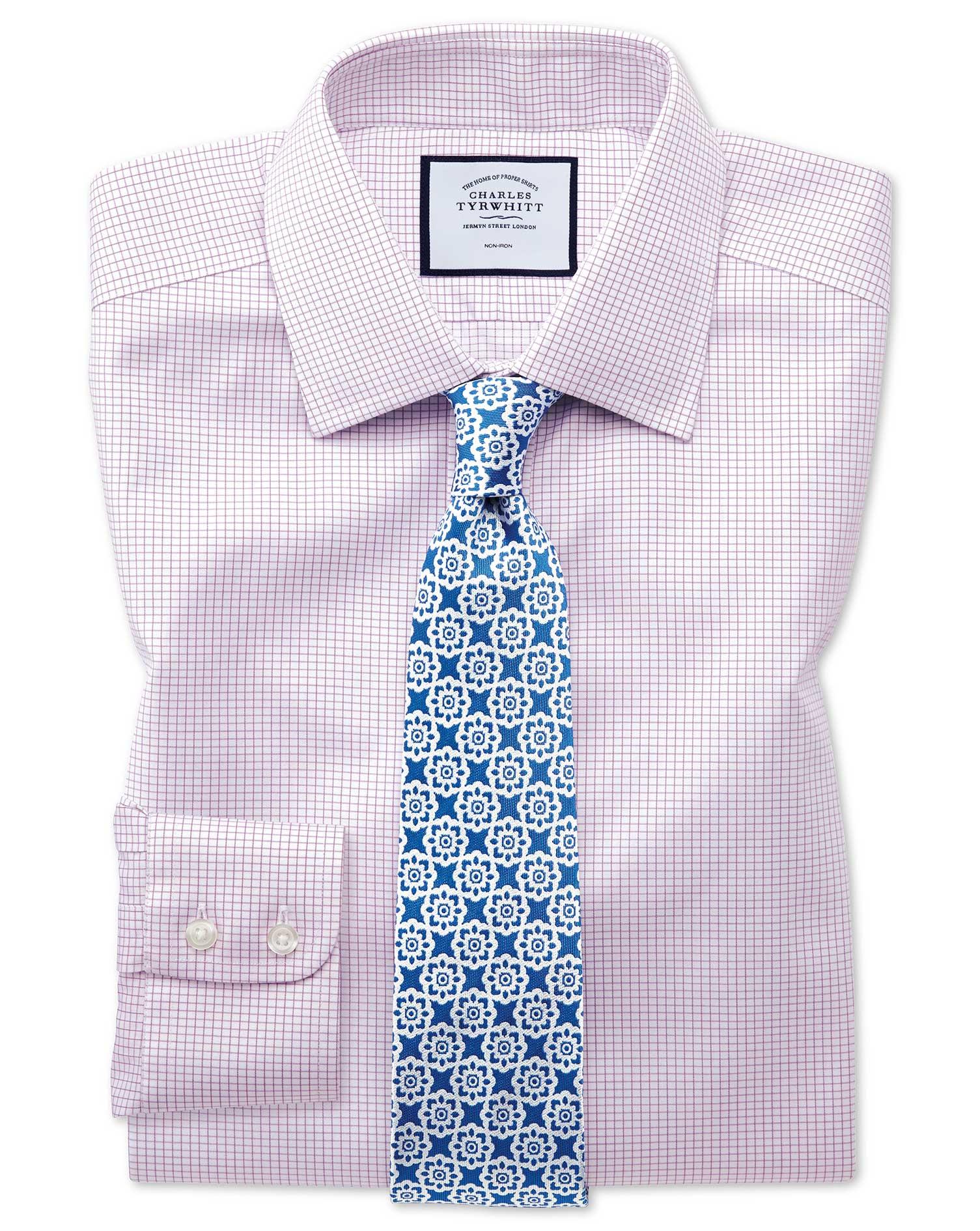 Extra Slim Fit Non-Iron Twill Mini Grid Check Purple Cotton Formal Shirt Single Cuff Size 15.5/35 by