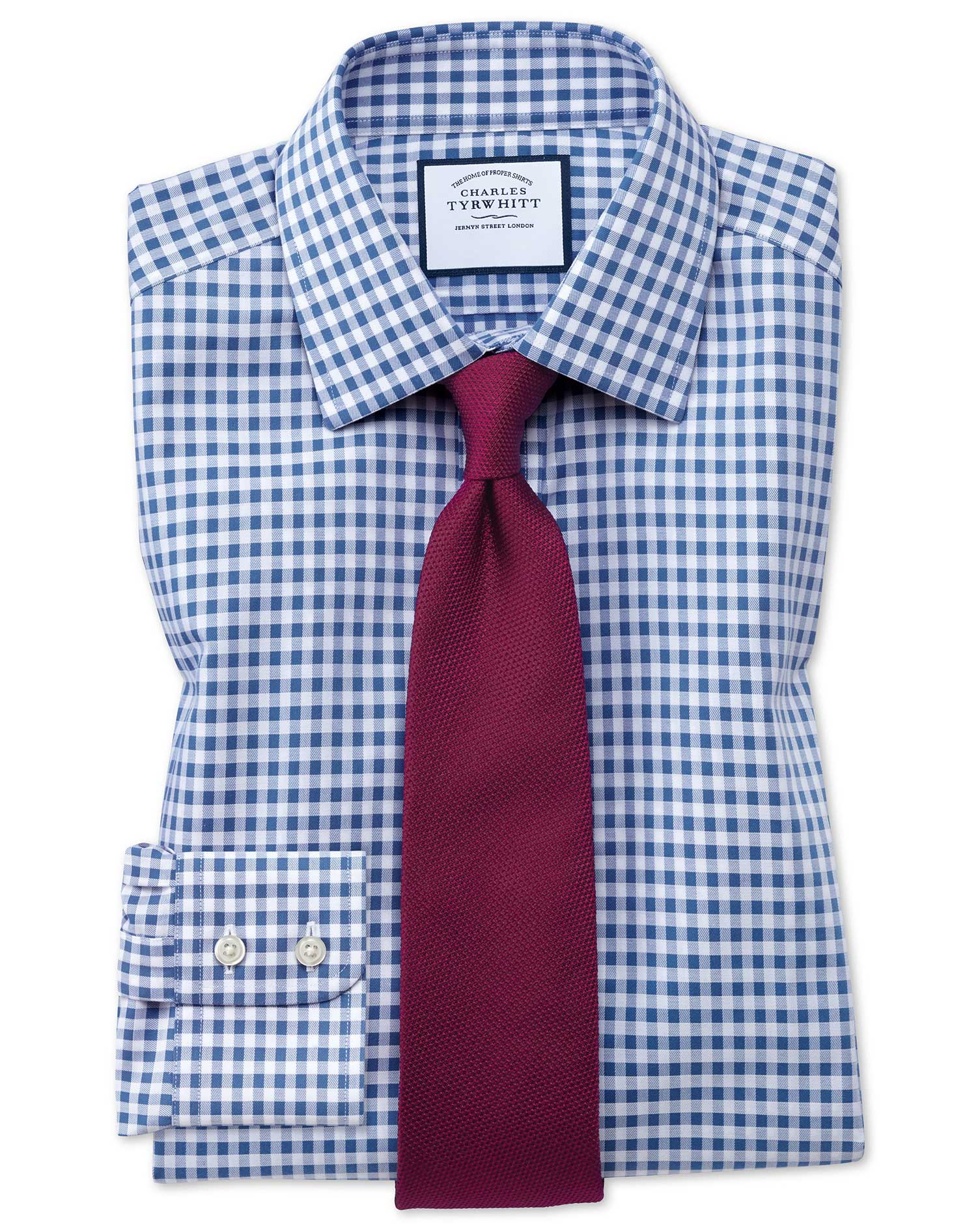 Extra Slim Fit Non-Iron Gingham Mid Blue Cotton Formal Shirt Single Cuff Size 16/34 by Charles Tyrwh