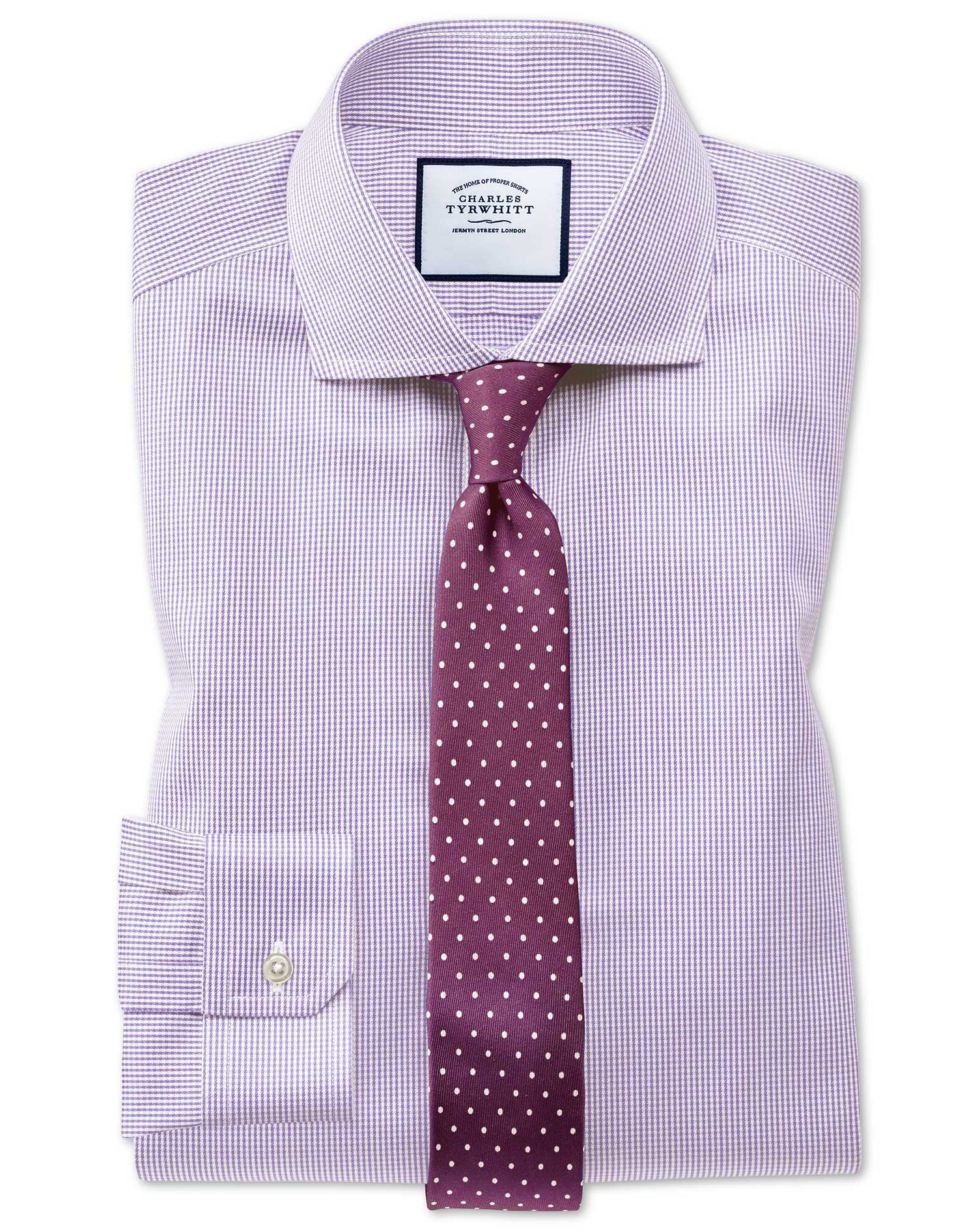 Super Slim Fit Cutaway Non-Iron Puppytooth Lilac Cotton Formal Shirt Single Cuff Size 14/33 by Charl