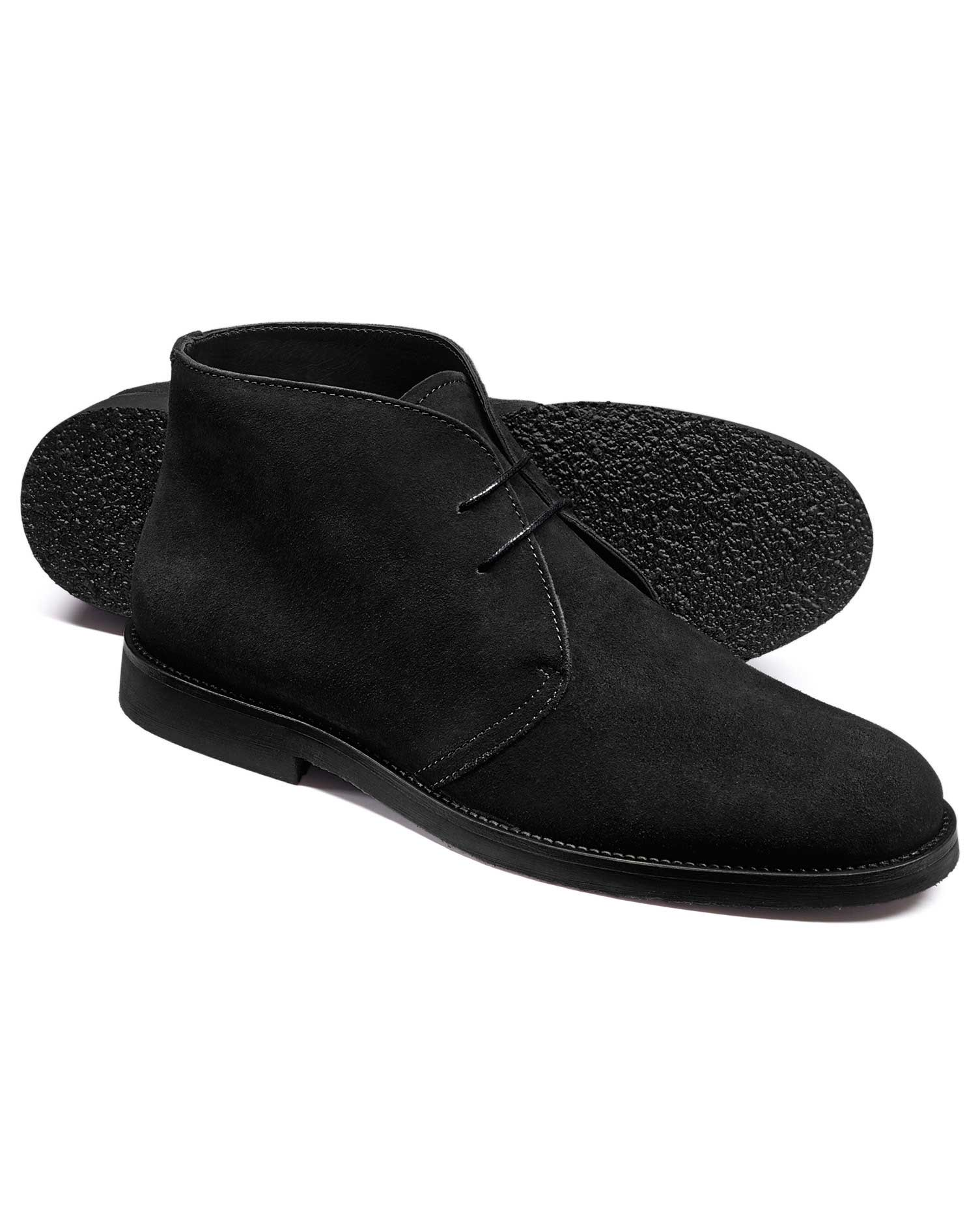 Black Suede Desert Boots Size 7 R by Charles Tyrwhitt