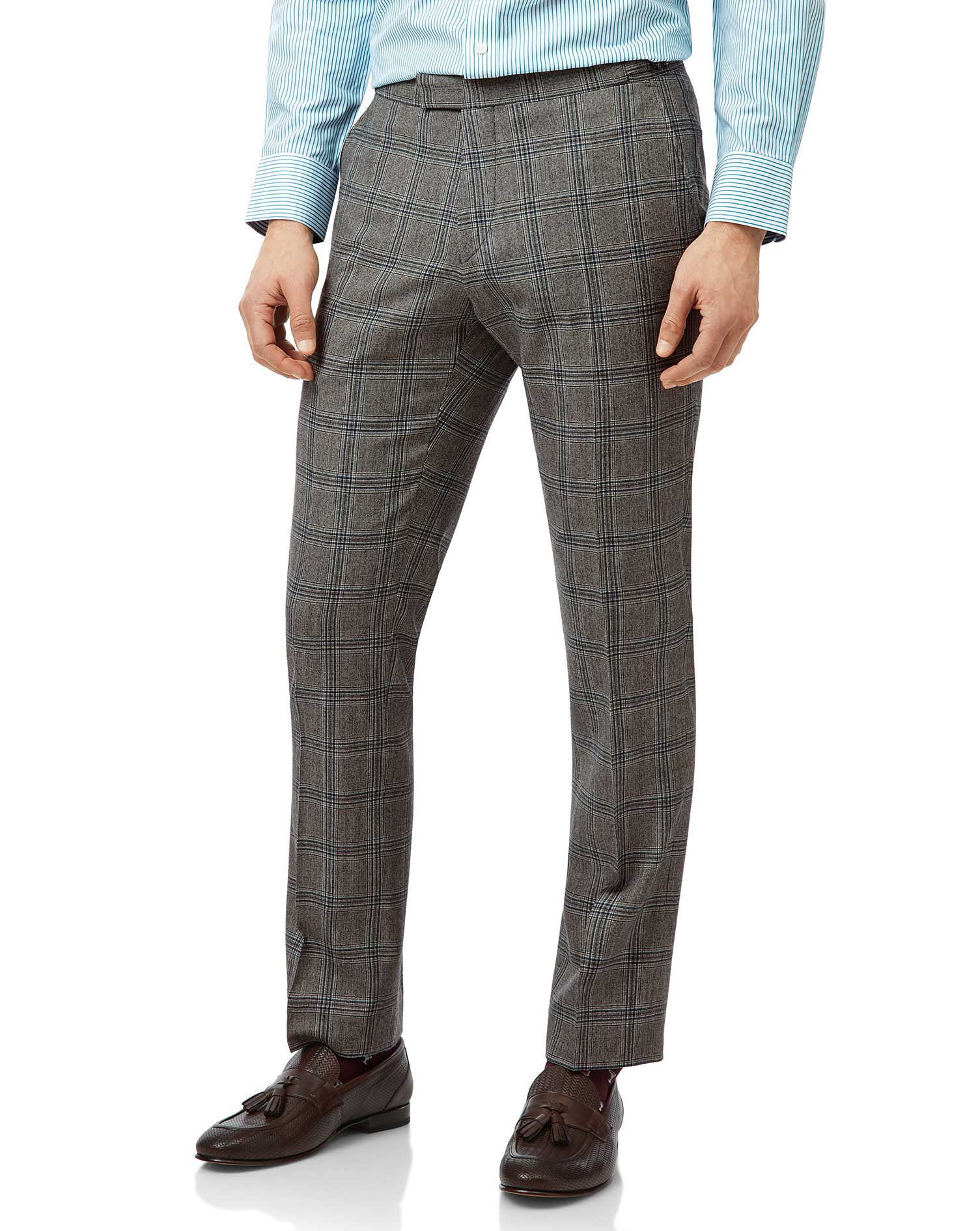Wool Grey Prince Of Wales Slim Fit British Luxury Suit Trousers