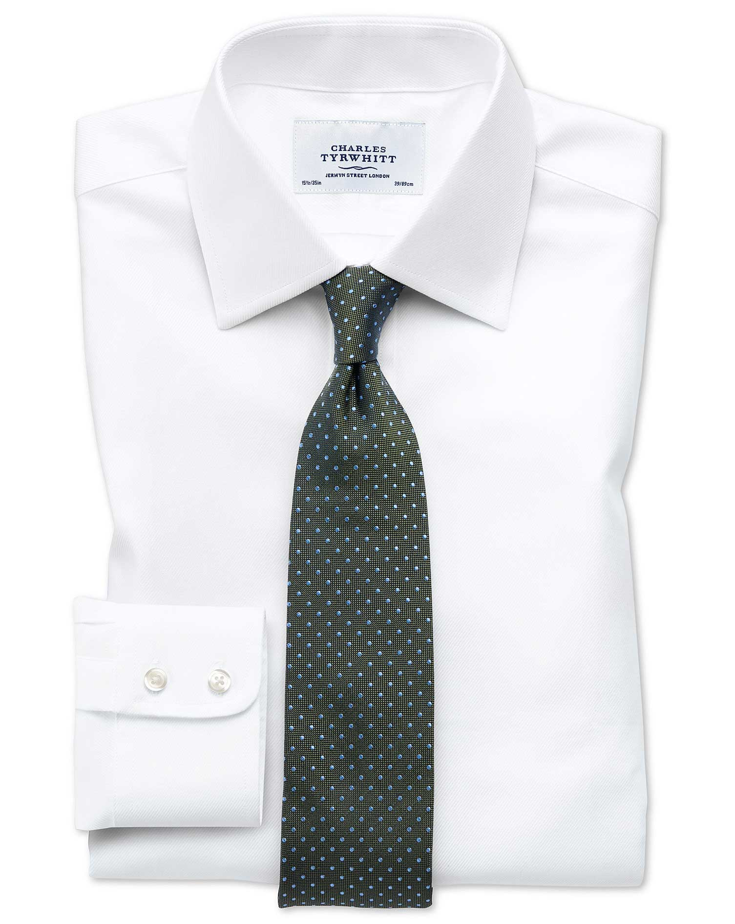 Extra slim fit egyptian cotton cavalry twill white shirt for Slim fit cotton shirts