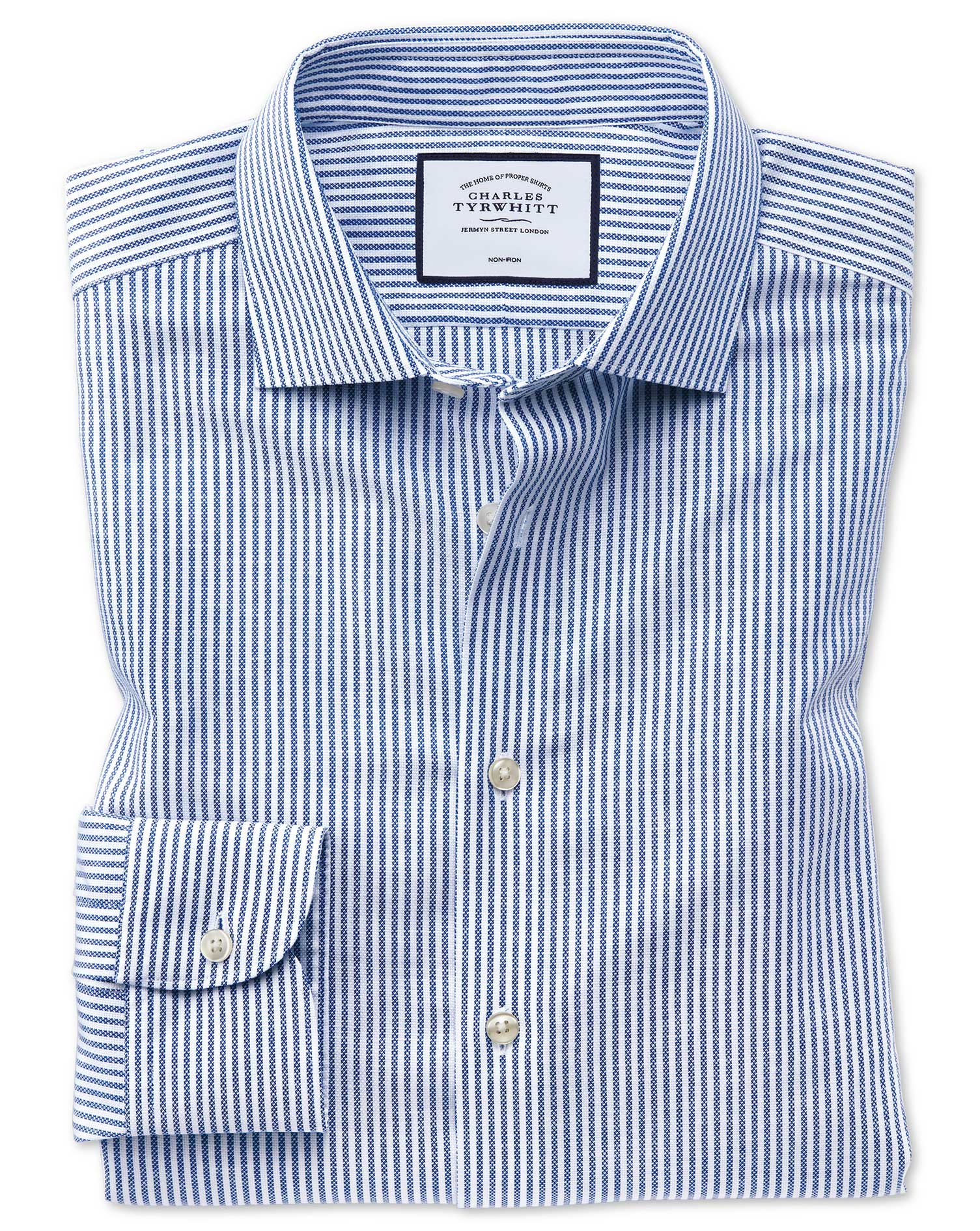 Slim Fit Business Casual Non-Iron Cotton Linen Blue and White Stripe Formal Shirt Single Cuff Size 1