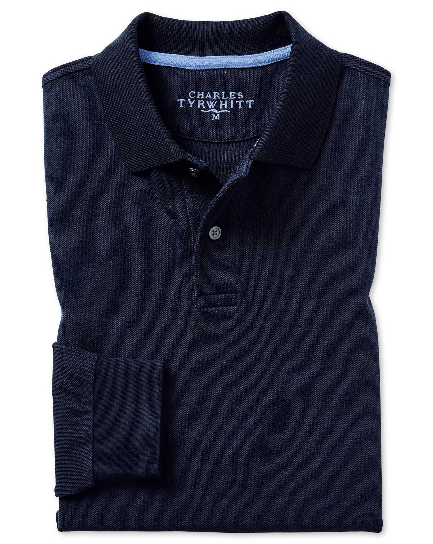 Navy Long Sleeve Plain Pique Cotton Polo Size Medium by Charles Tyrwhitt