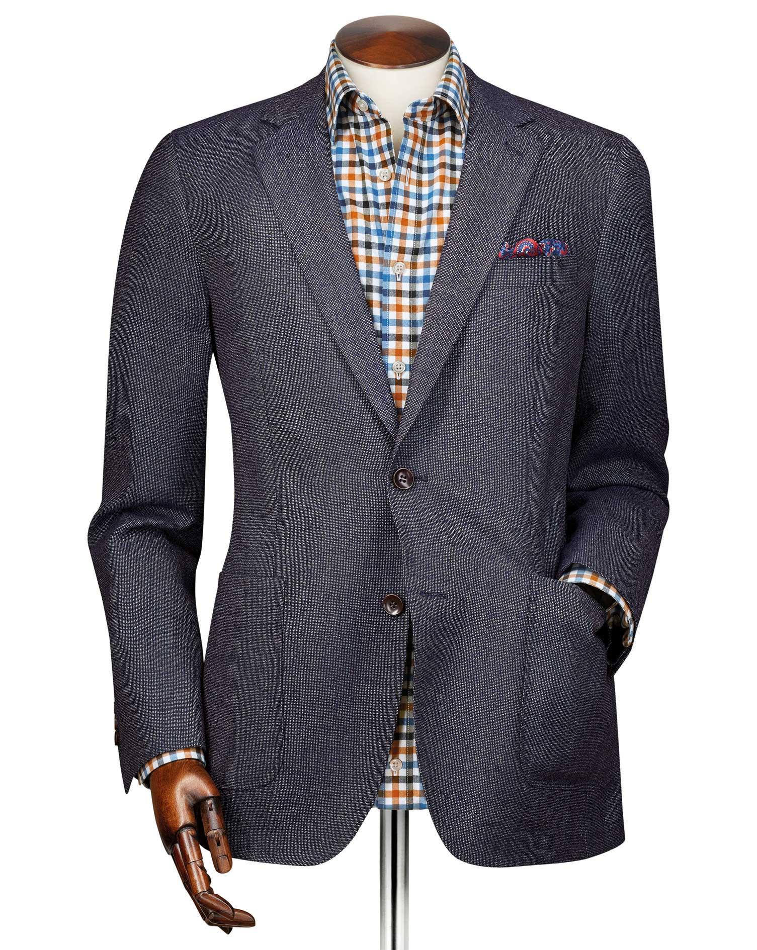 Slim Fit Navy Modern Wool Blazer Size 44 Long by Charles Tyrwhitt