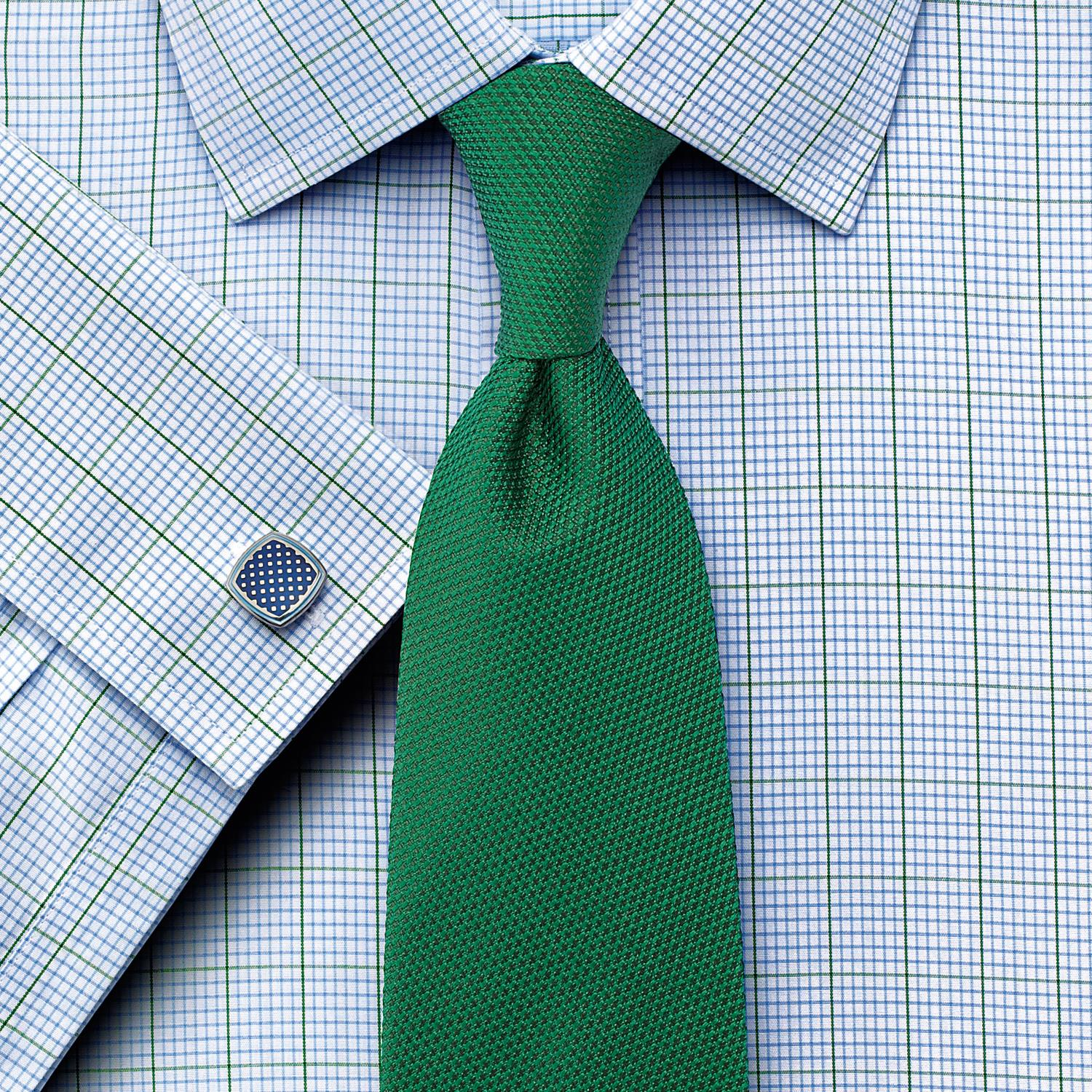 Slim Fit Non-Iron Check Green Cotton Formal Shirt Double Cuff Size 14.5/33 by Charles Tyrwhitt