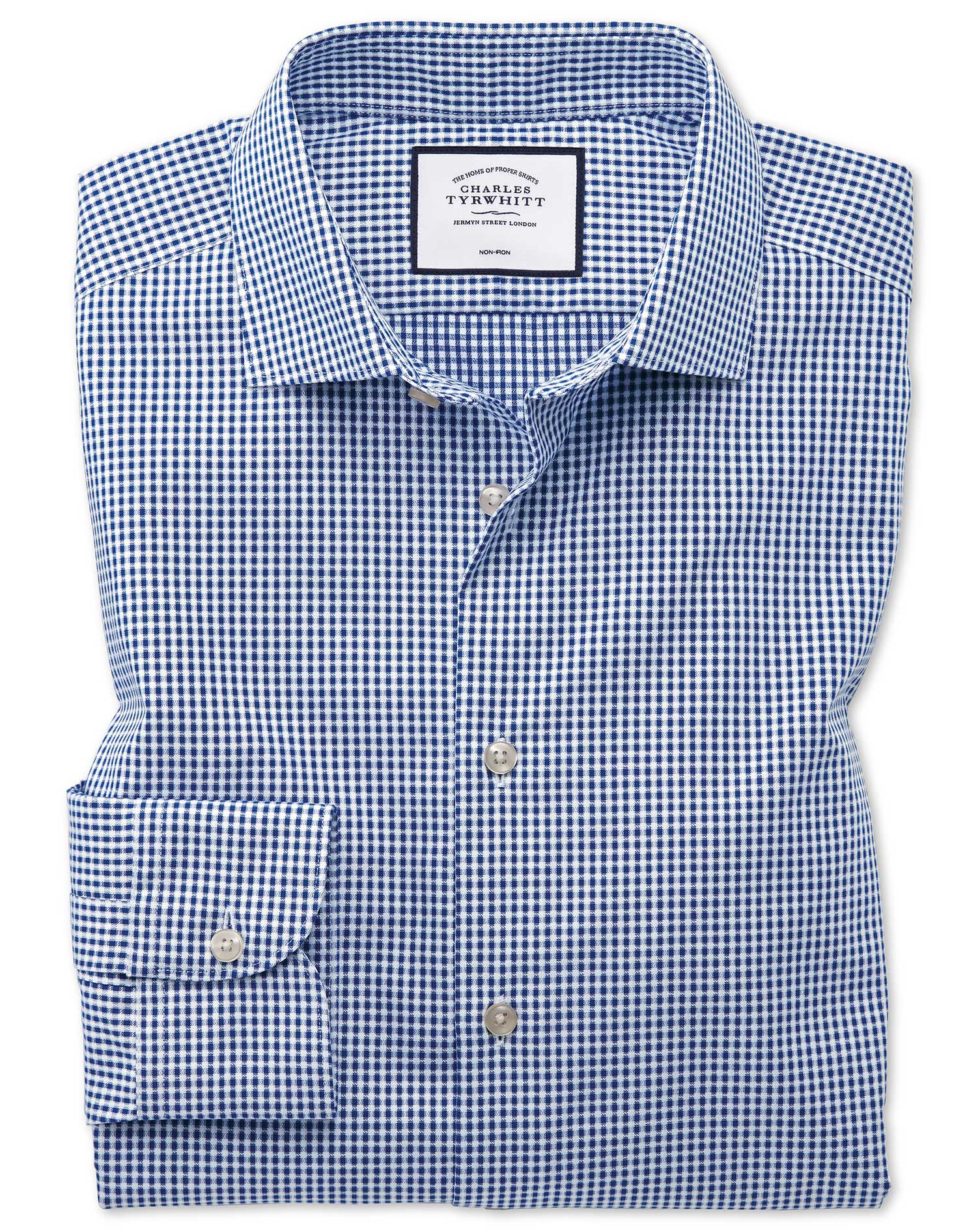 Extra Slim Fit Business Casual Non-Iron Square Texture Navy Cotton Formal Shirt Single Cuff Size 16/
