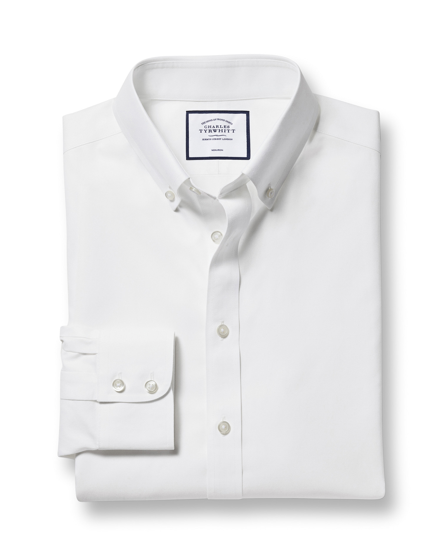 Classic Fit Button-Down Non-Iron Twill White Cotton Formal Shirt Single Cuff Size 17.5/38 by Charles