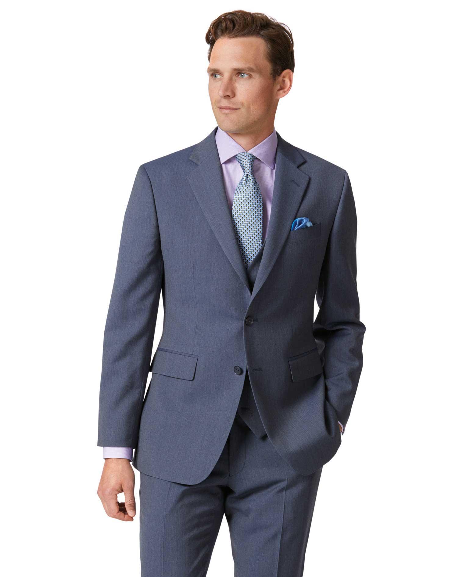 Light Blue Slim Fit Herringbone Business Suit Wool Jacket Size 42 Short by Charles Tyrwhitt