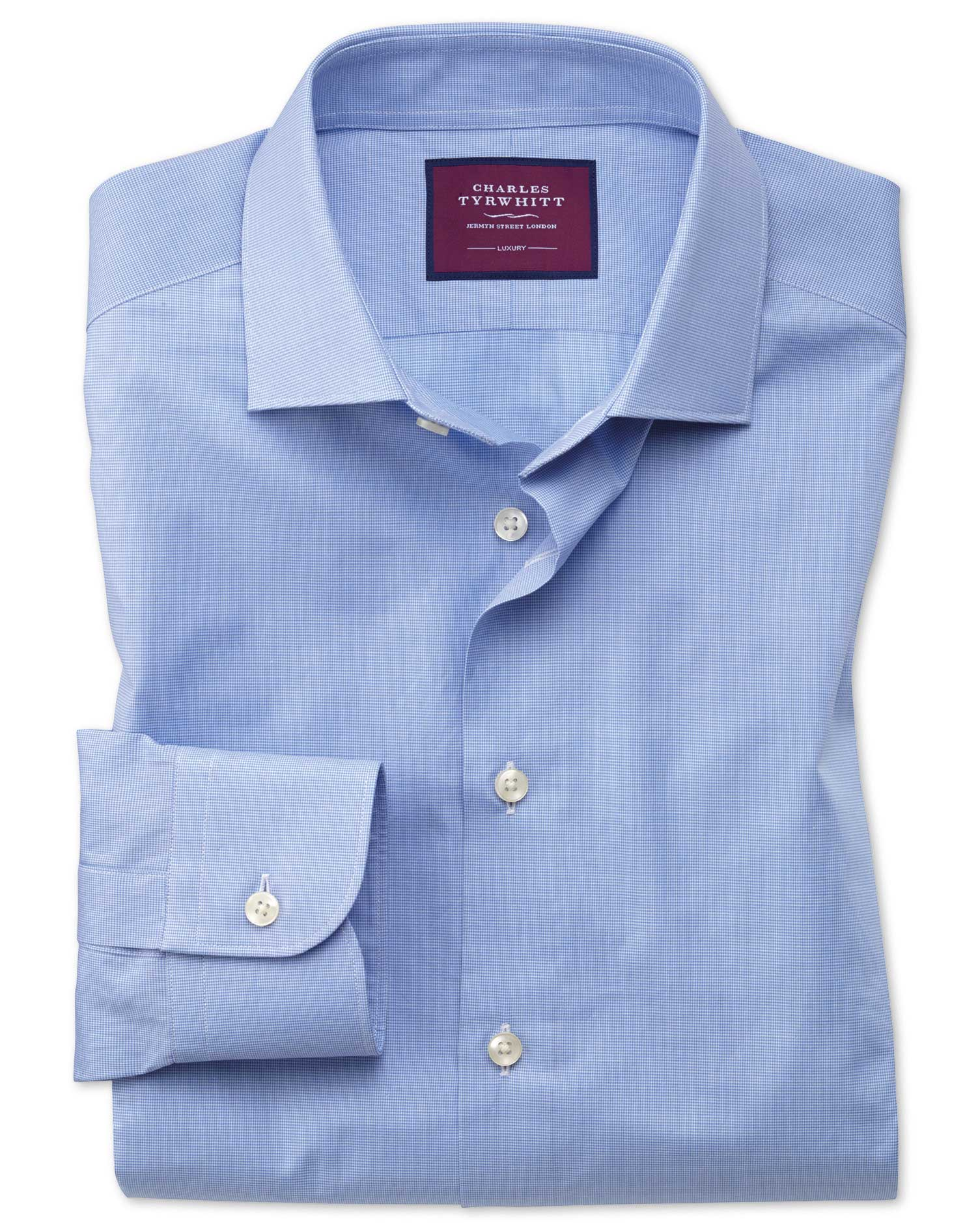 Slim Fit Blue Small Puppytooth Luxury Cotton Formal Shirt Single Cuff Size 16/34 by Charles Tyrwhitt