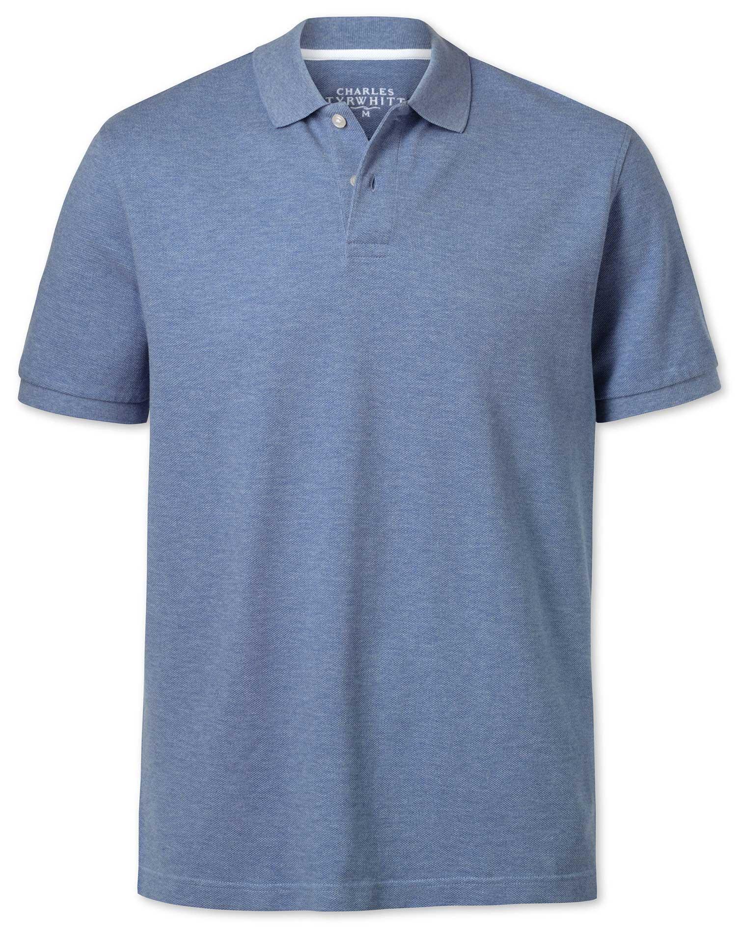 Sky Blue Melange Pique Cotton Polo Size XXXL by Charles Tyrwhitt