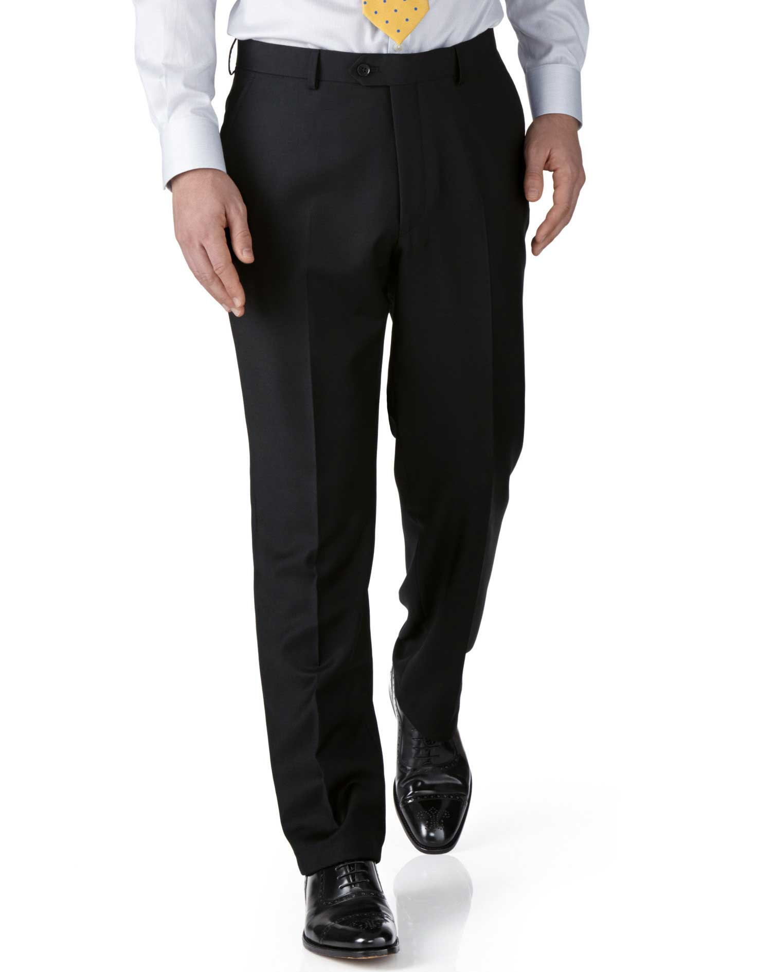 Image of Charles Tyrwhitt Black Extra Slim Fit Twill Business Suit Trousers Size W71 L97 by Charles Tyrwhitt