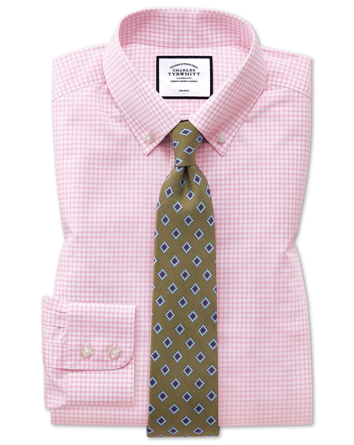 Extra Slim Fit Button-Down Non-Iron Pink Windowpane Check Cotton Formal Shirt Single Cuff Size 16.5/