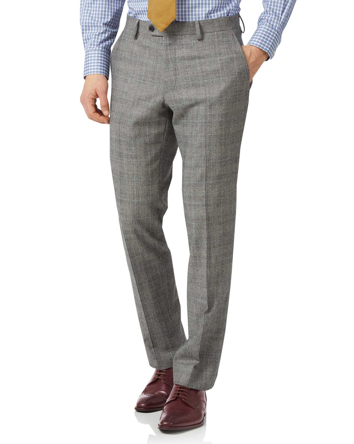 Grey Classic Fit Prince Of Wales Check Flannel Business Suit Trousers Size W40 L32 by Charles Tyrwhi