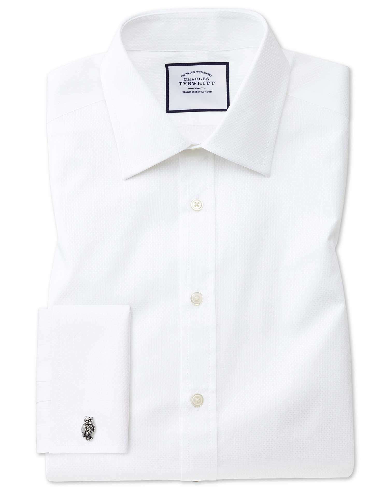 Classic Fit White Cube Weave Egyptian Cotton Formal Shirt Single Cuff Size 15.5/37 by Charles Tyrwhi