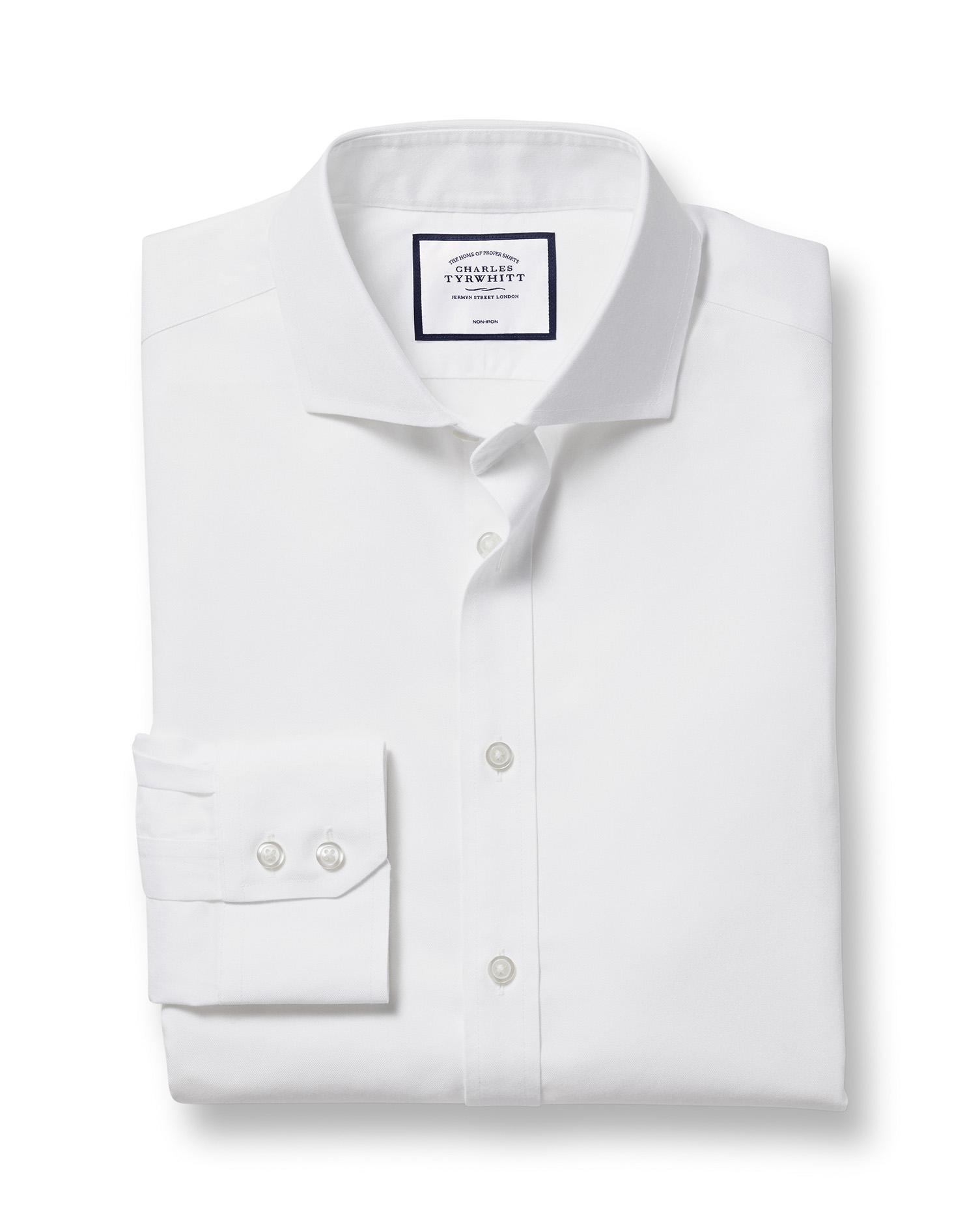 Cotton Extra Slim Fit White Non-Iron Twill Extreme Cutaway Shirt