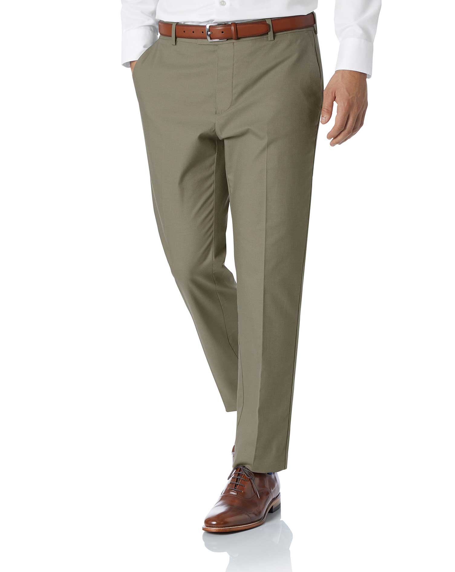 Olive Slim Fit Stretch Non-Iron Trousers Size W40 L32 by Charles Tyrwhitt