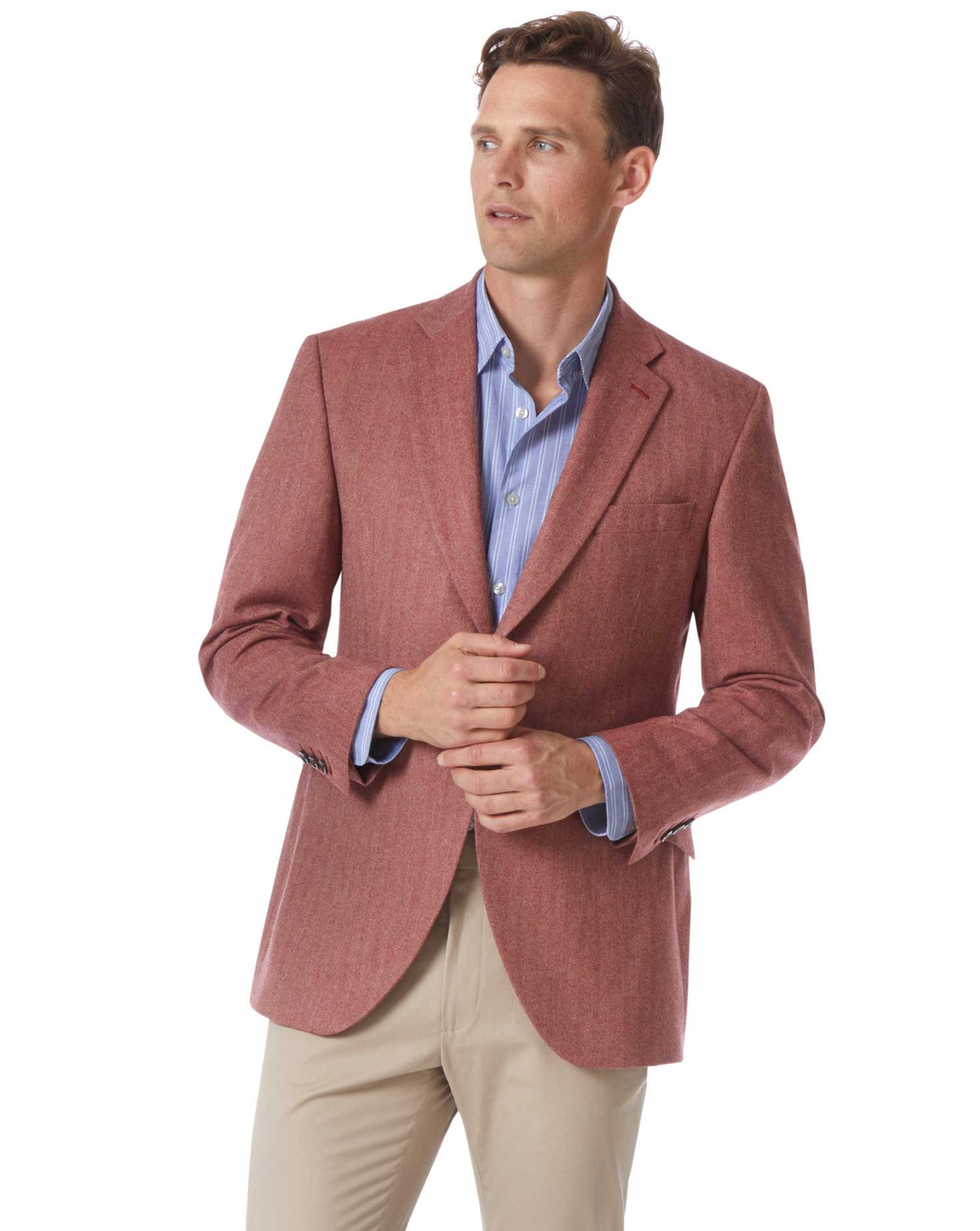 Classic Fit British Wool With Cashmere Jacket In Red Size 42 Regular by Charles Tyrwhitt