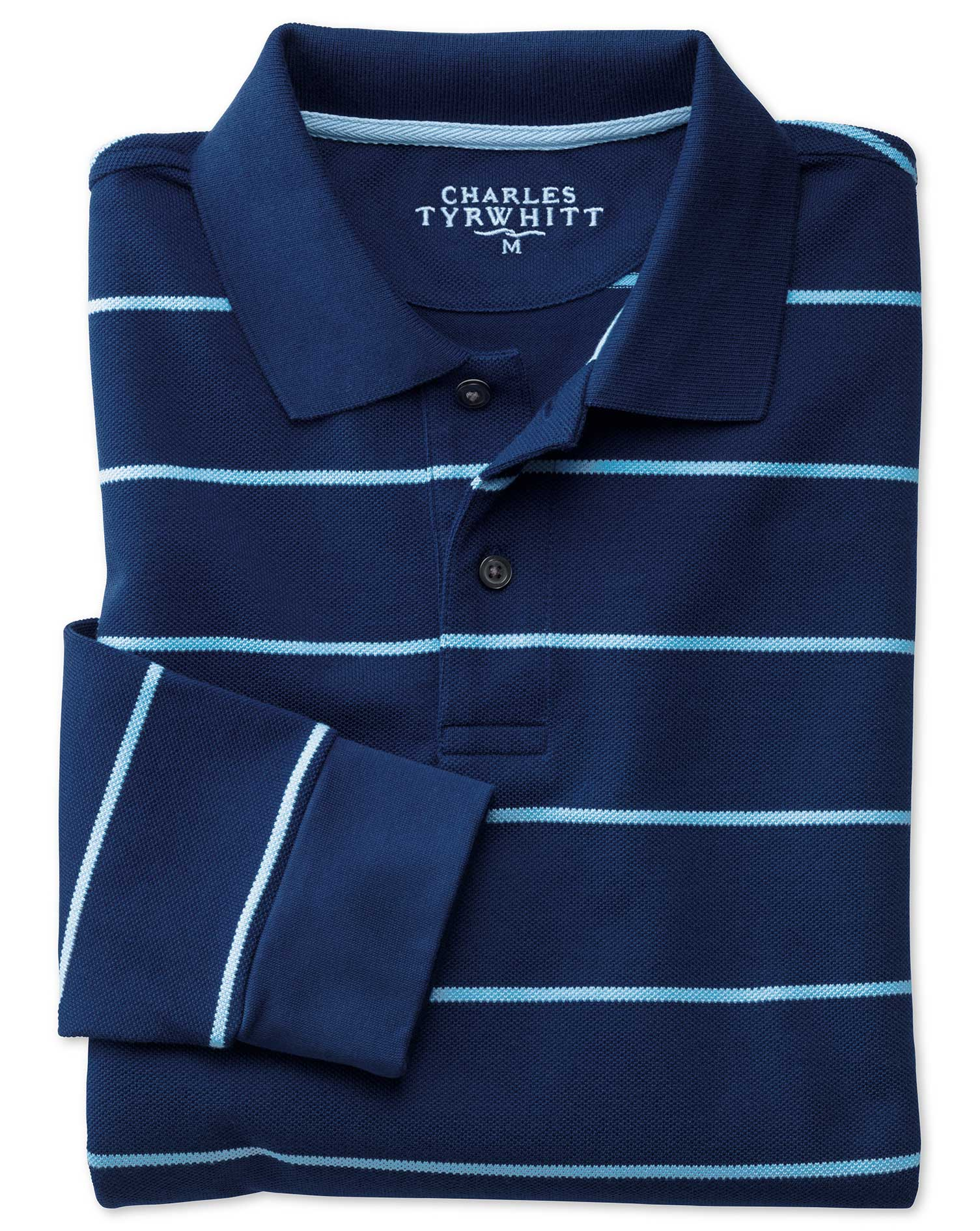 Blue and Sky Stripe Pique Long Sleeve Cotton Polo Size Large by Charles Tyrwhitt